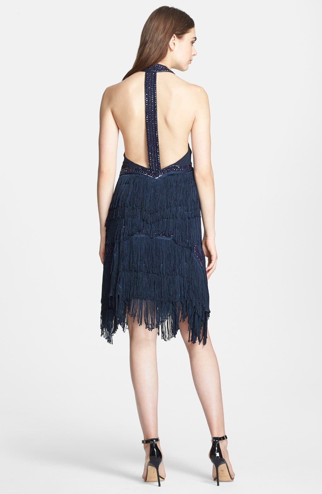 Alternate Image 2  - Haute Hippie Bead Embellished T-Back Silk Dress with Fringe Skirt
