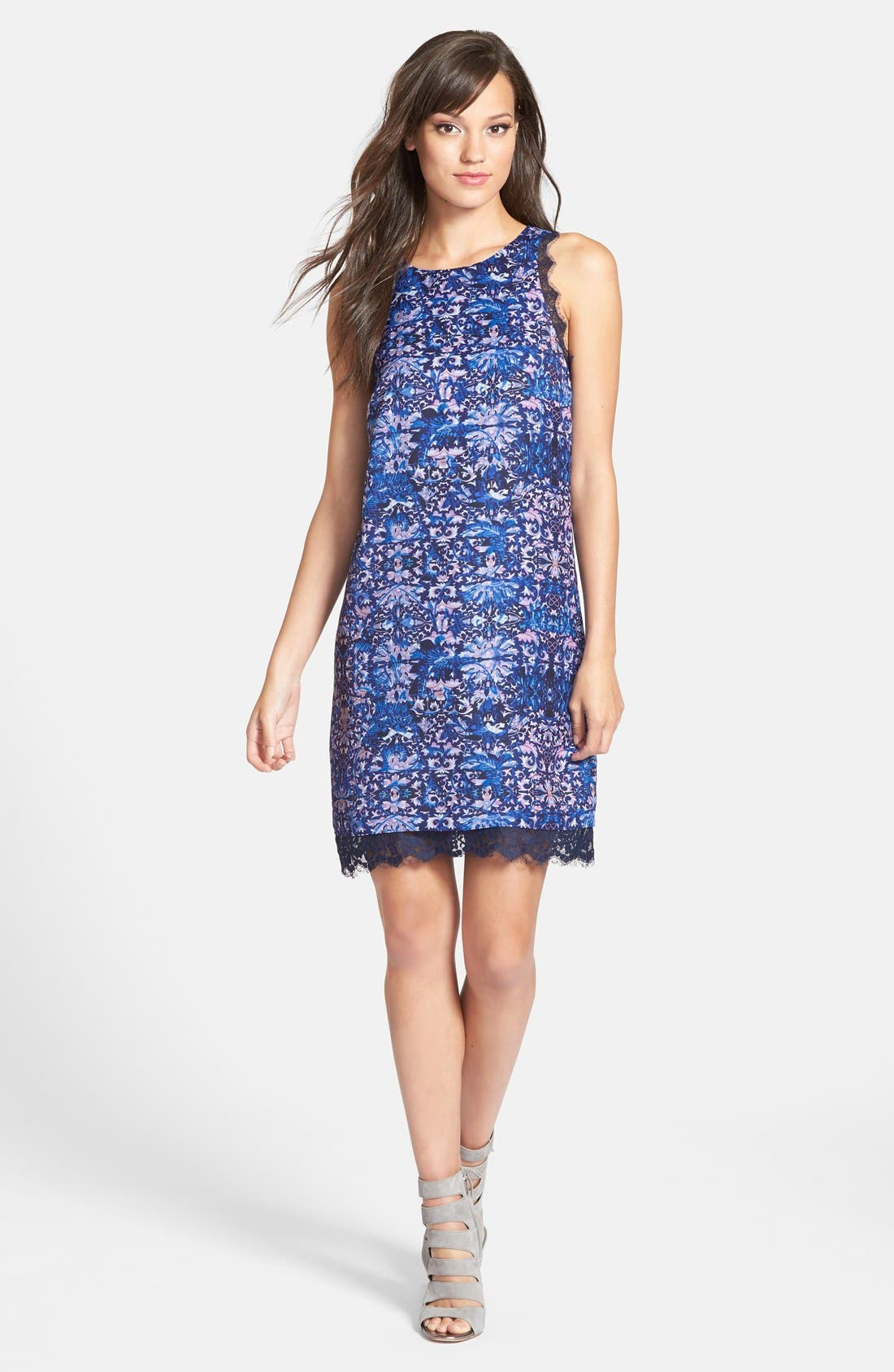 Alternate Image 1 Selected - Chelsea28 Print Lace Trim Shift Dress