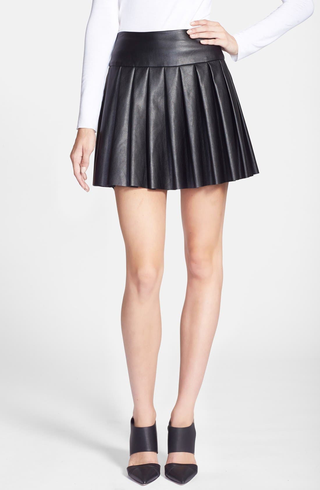 Alternate Image 1 Selected - Ella Moss 'Raquel' Pleated Faux Leather Skirt