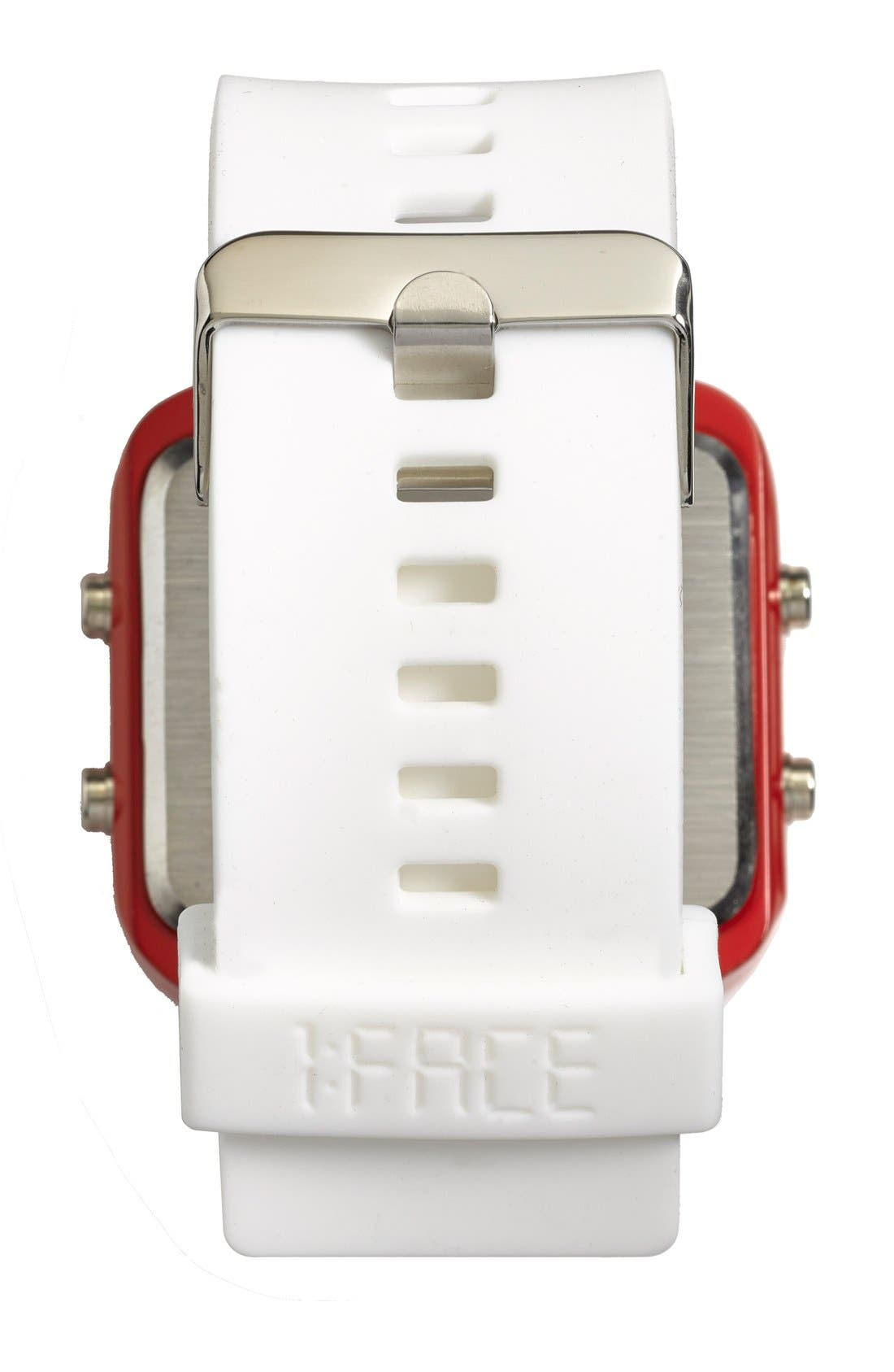 Alternate Image 3  - 1:Face 'Red Cross' Square Digital Silicone Strap Watch, 38mm