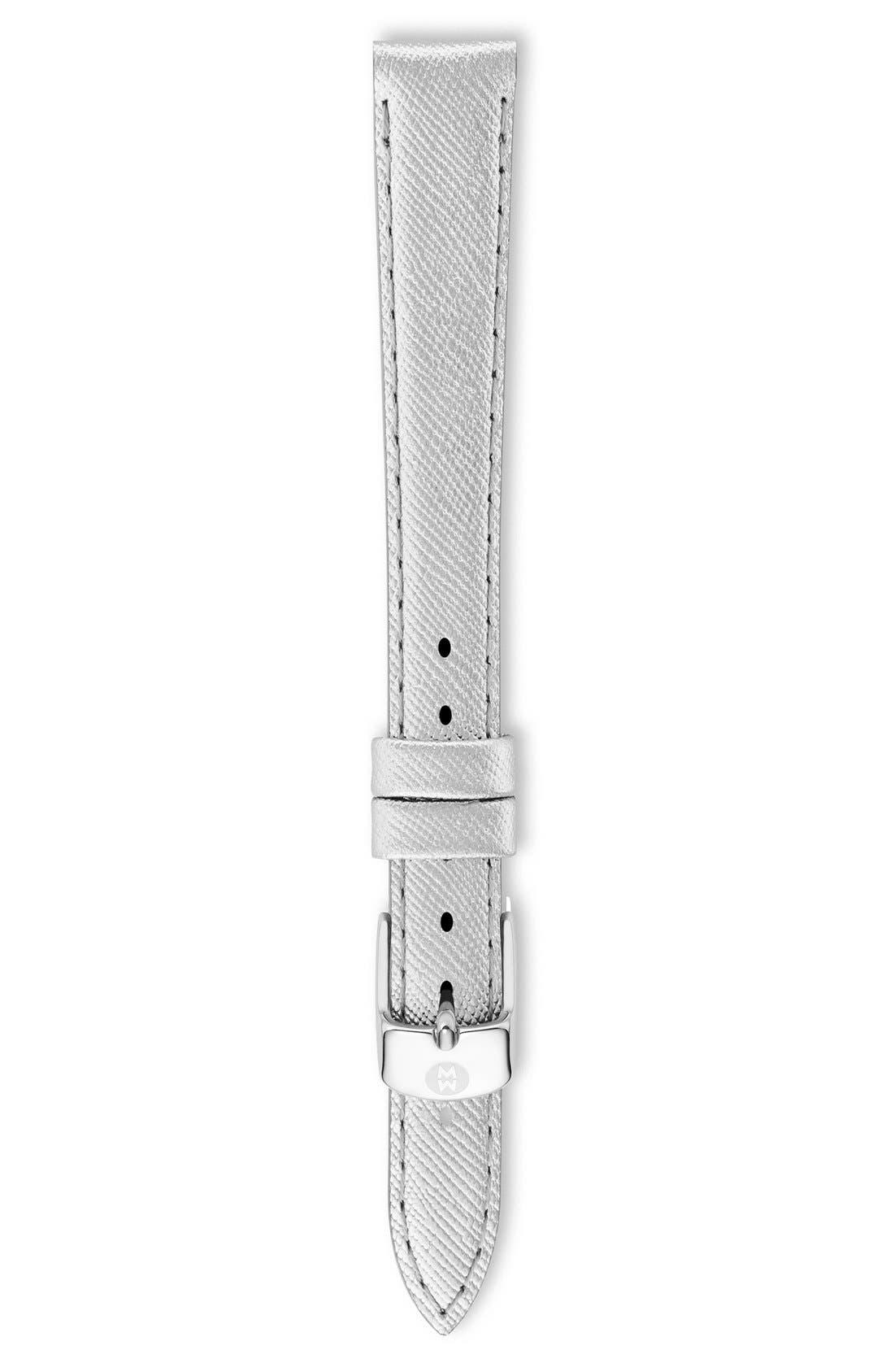 MICHELE 12mm Metallic Leather Watch Strap