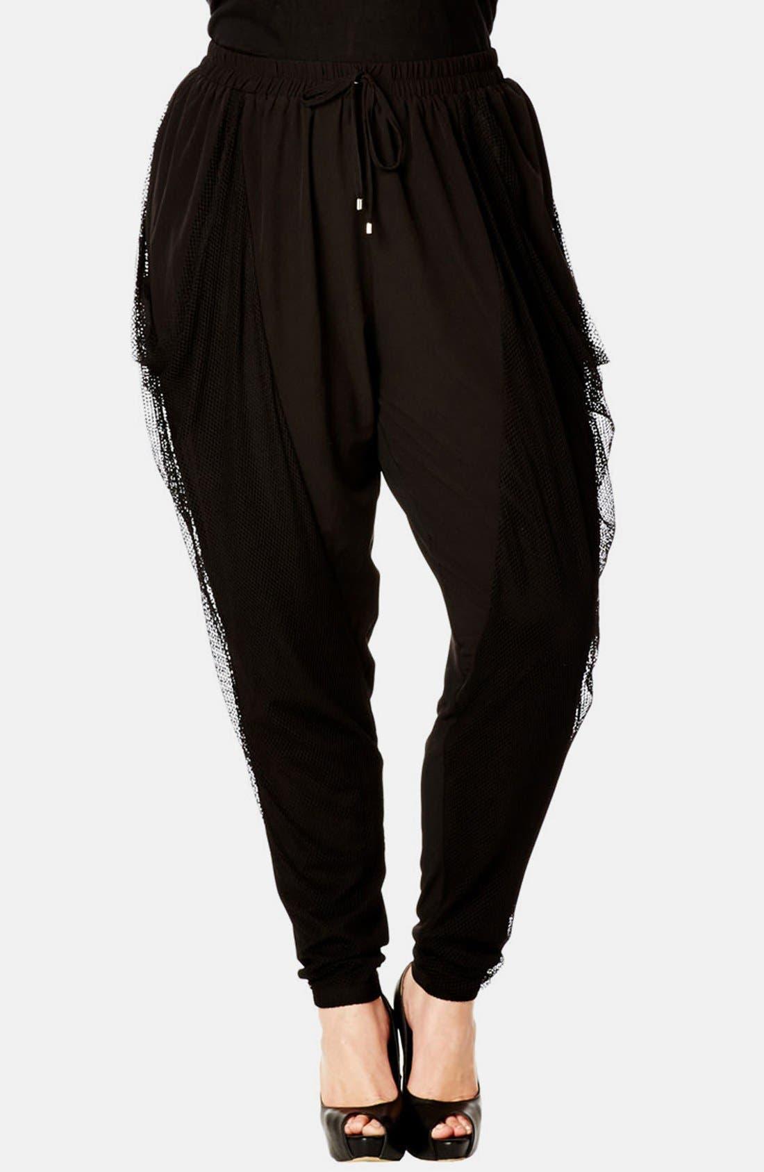 Main Image - City Chic 'Urban Harem' Mesh Overlay Pants (Plus Size)