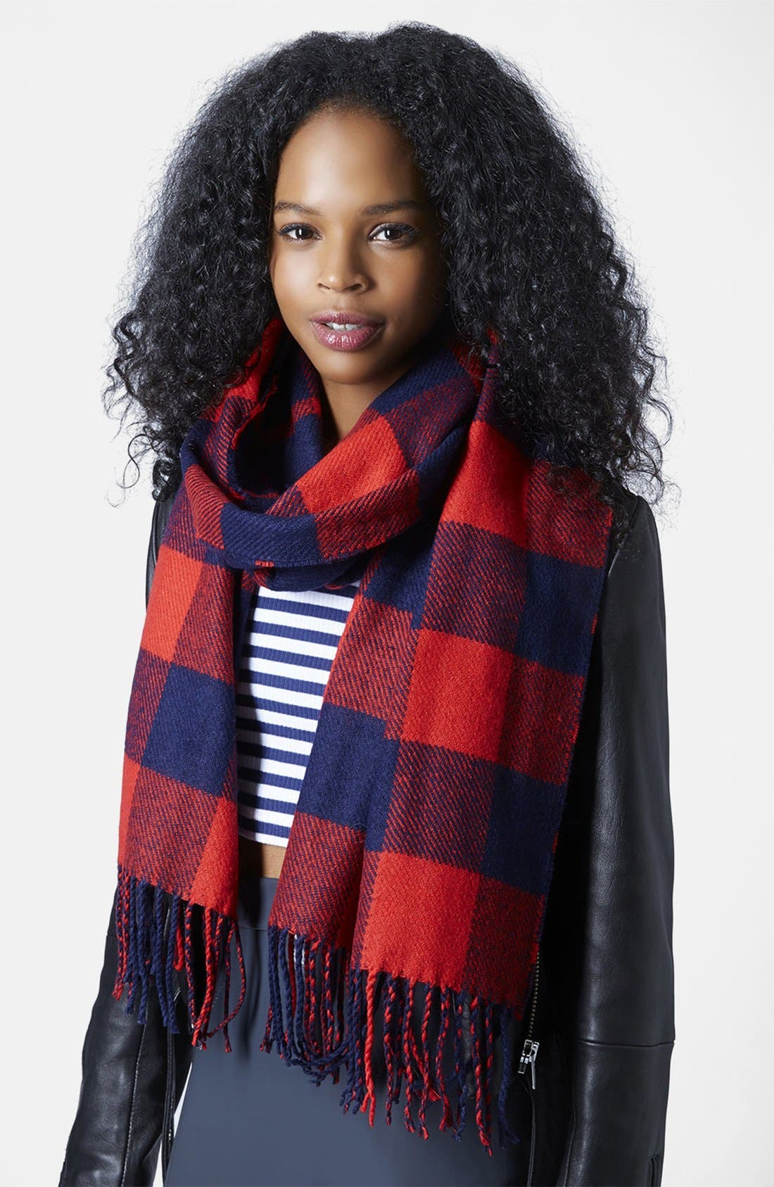 Alternate Image 2  - Topshop Double Face Gingham Scarf