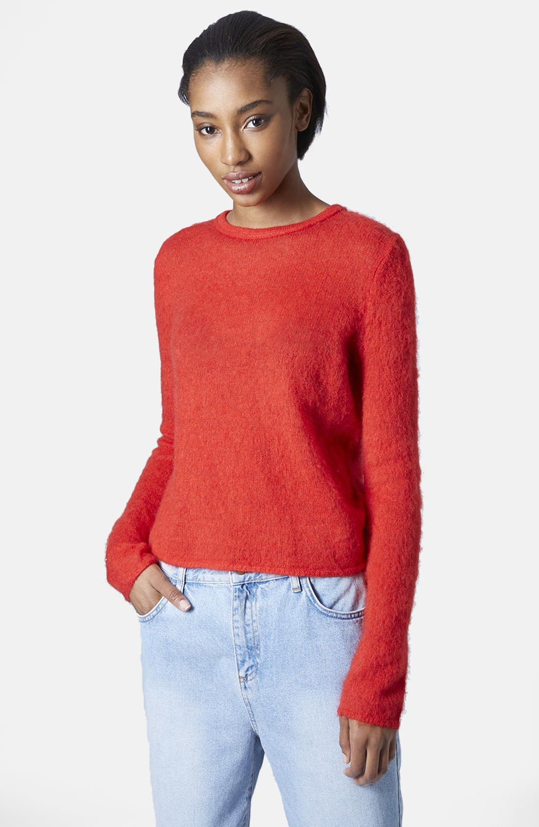 Main Image - Topshop Boutique Fluorescent Fluffy Sweater