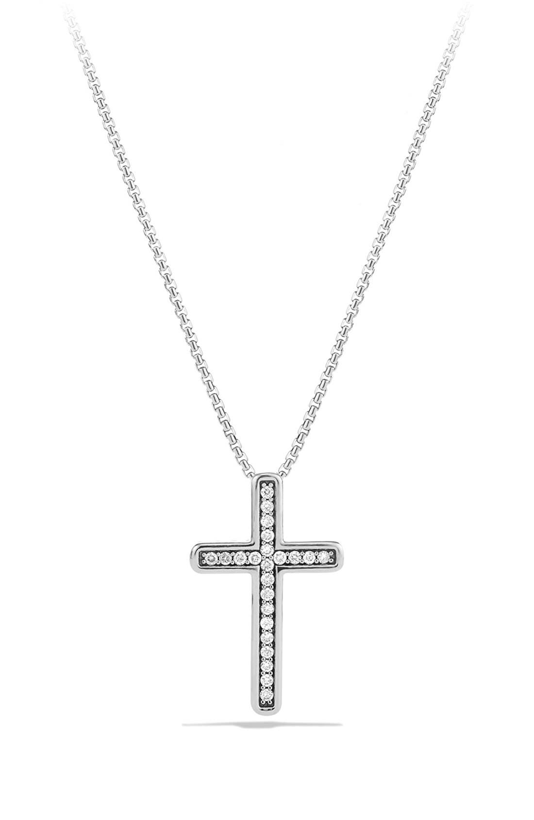 Alternate Image 1 Selected - David Yurman 'Petite Pavé' Cross Necklace with Diamonds