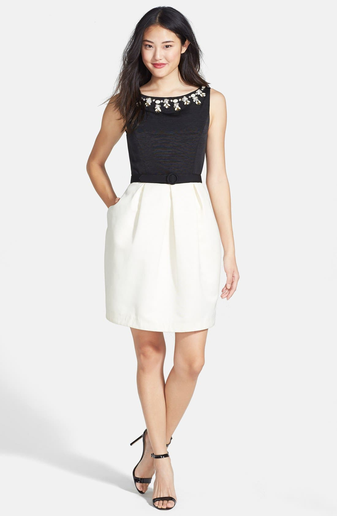 Alternate Image 3  - Eliza J Embellished Neck Colorblock Tulip Dress (Regular & Petite)