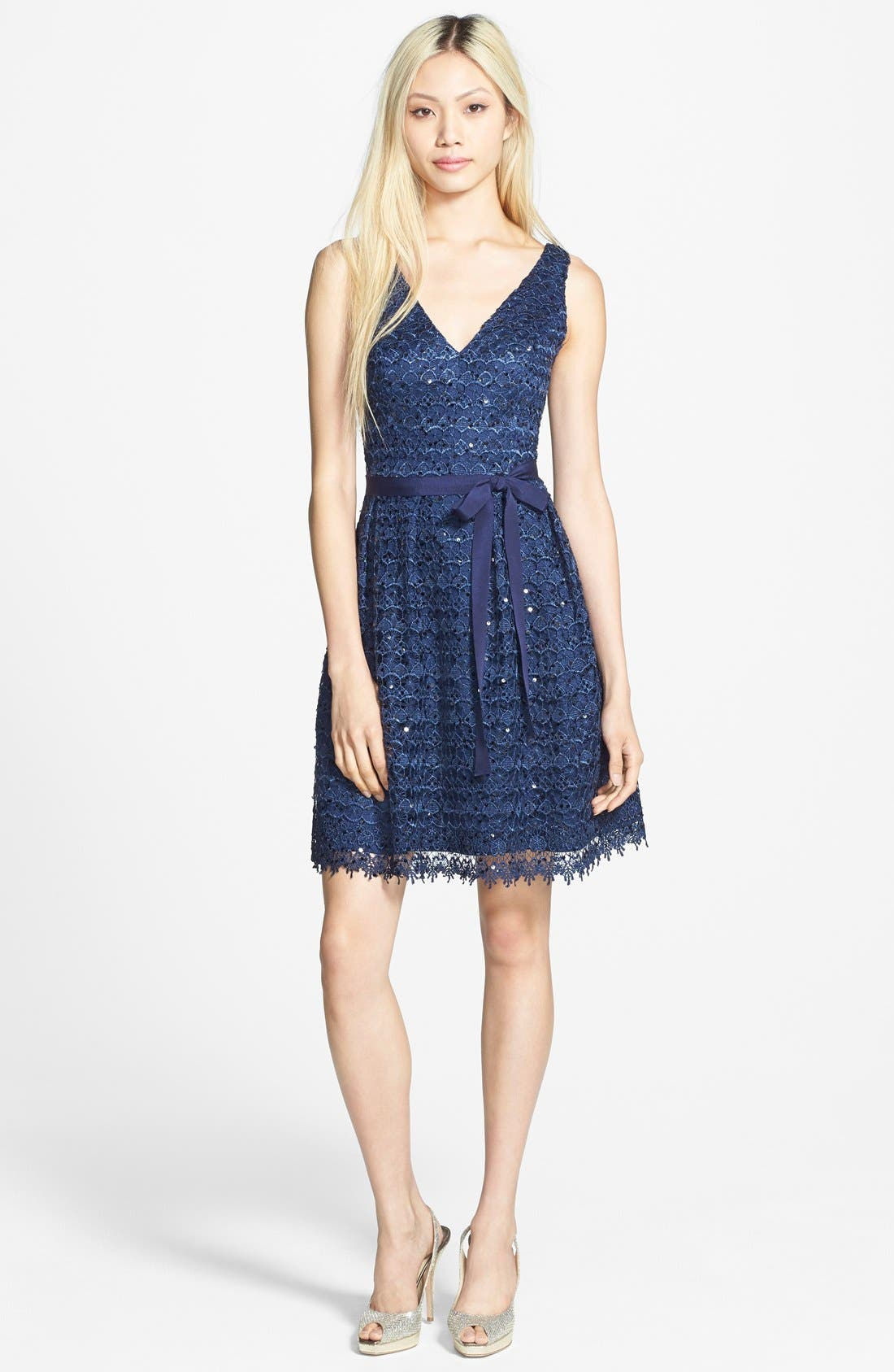 Alternate Image 3  - Hailey by Adrianna Papell Sequin Lace Fit & Flare Dress