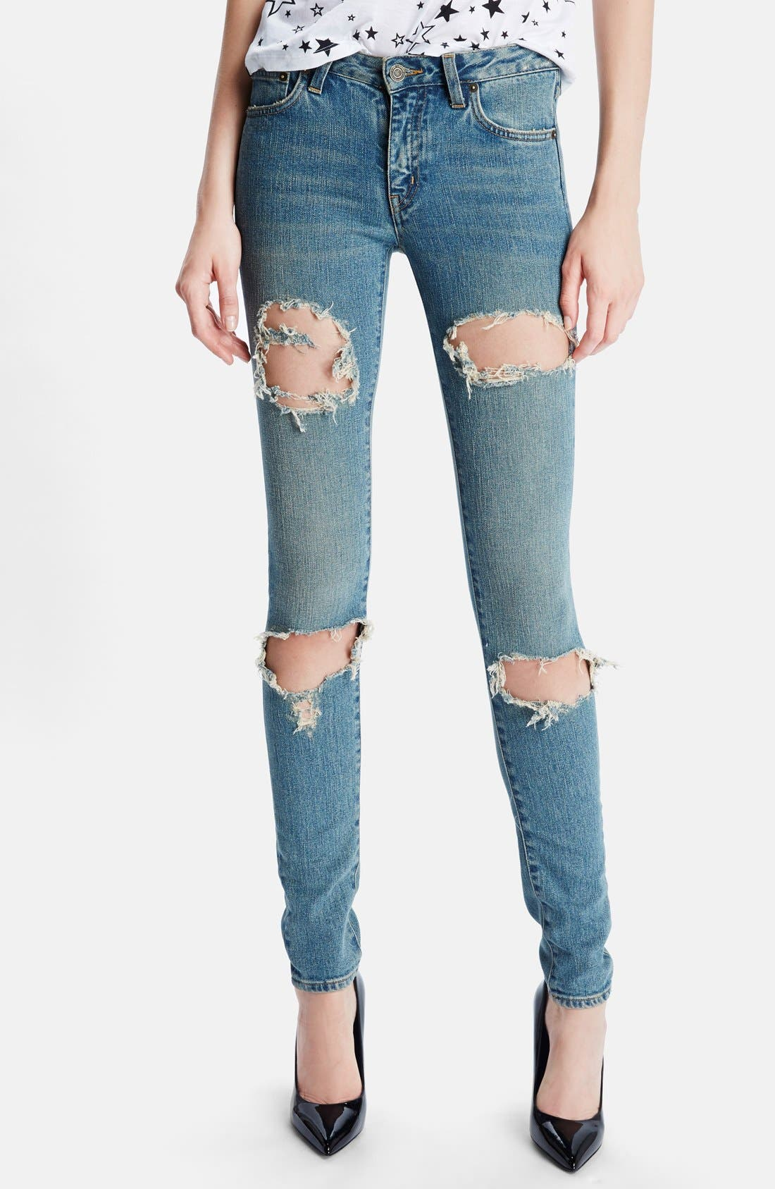 Main Image - Saint Laurent 'Dirty 50s' Destroyed Skinny Jeans