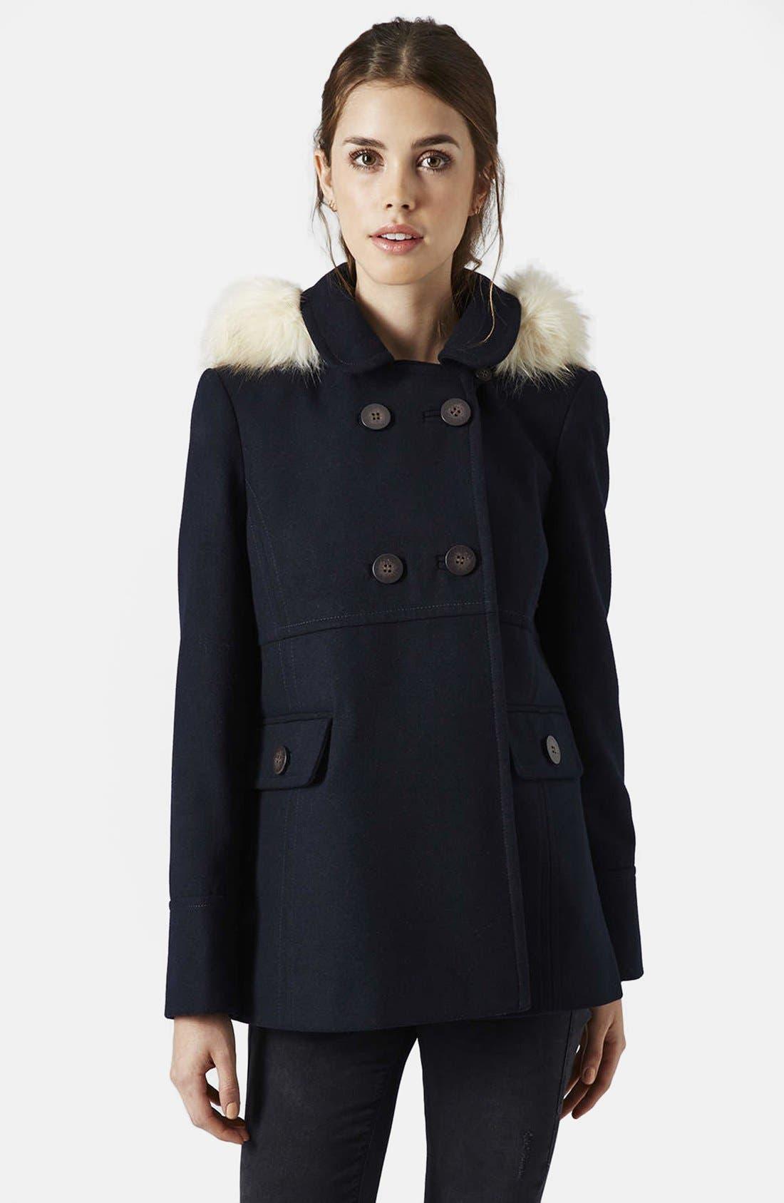 Alternate Image 1 Selected - Topshop 'Lottie' Faux Fur Trim Hooded Coat