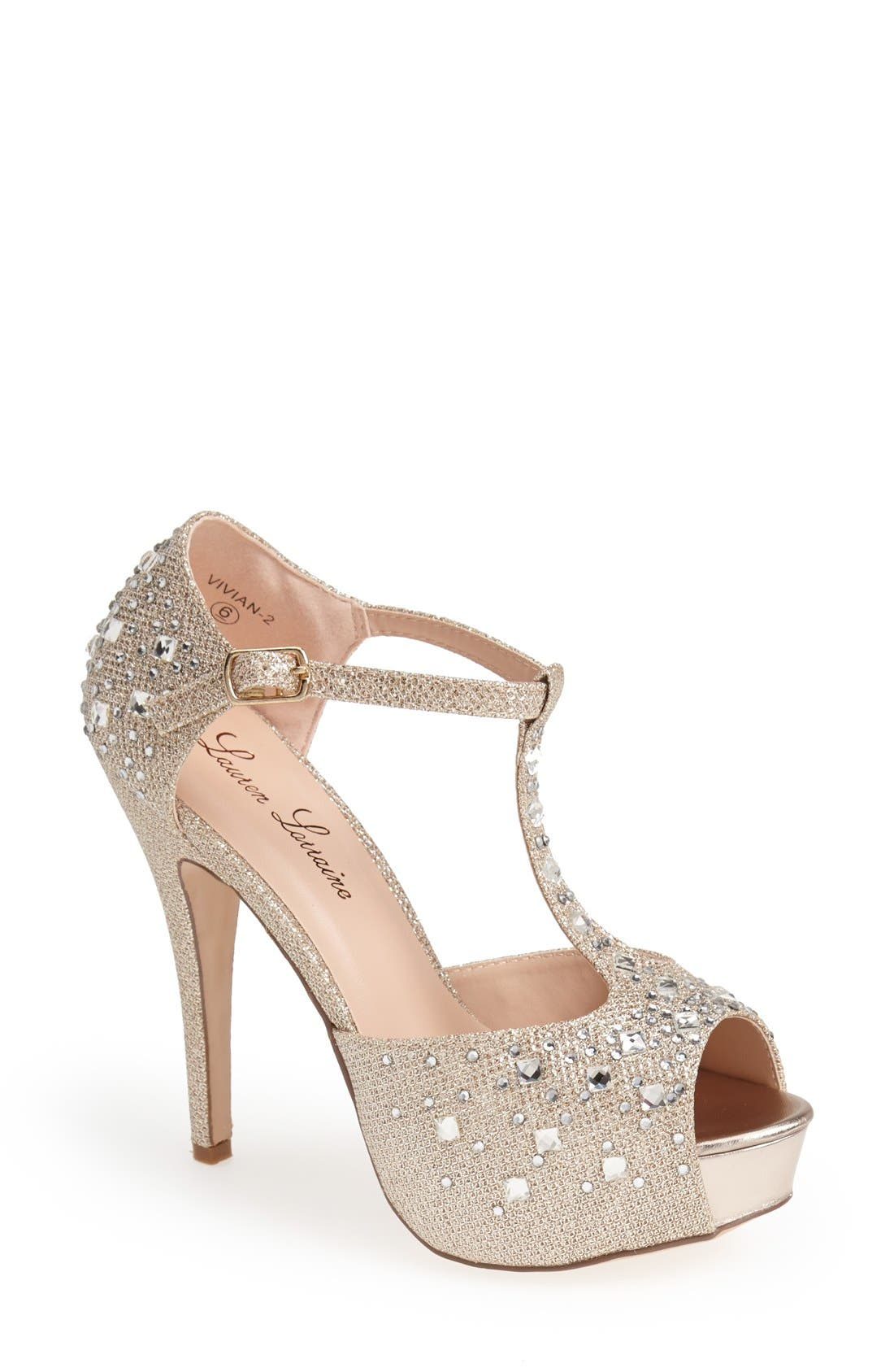 Alternate Image 1 Selected - Lauren Lorraine 'Vivian' Crystal Platform Pump (Women)