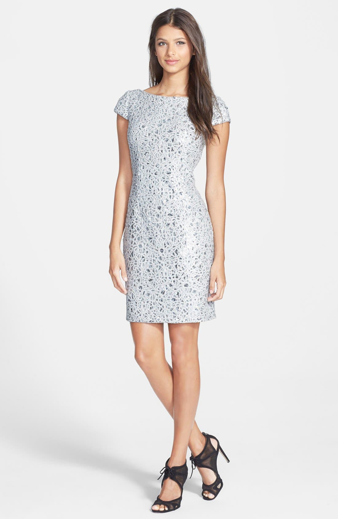 Alternate Image 3  - Hailey by Adrianna Papell Sequin Lace Sheath Dress