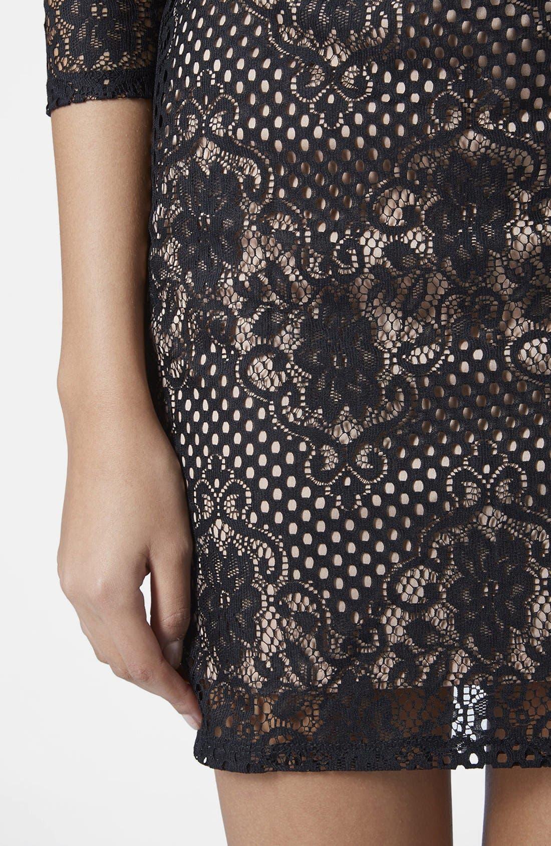 Alternate Image 4  - Topshop Scallop Lace Body-Con Dress