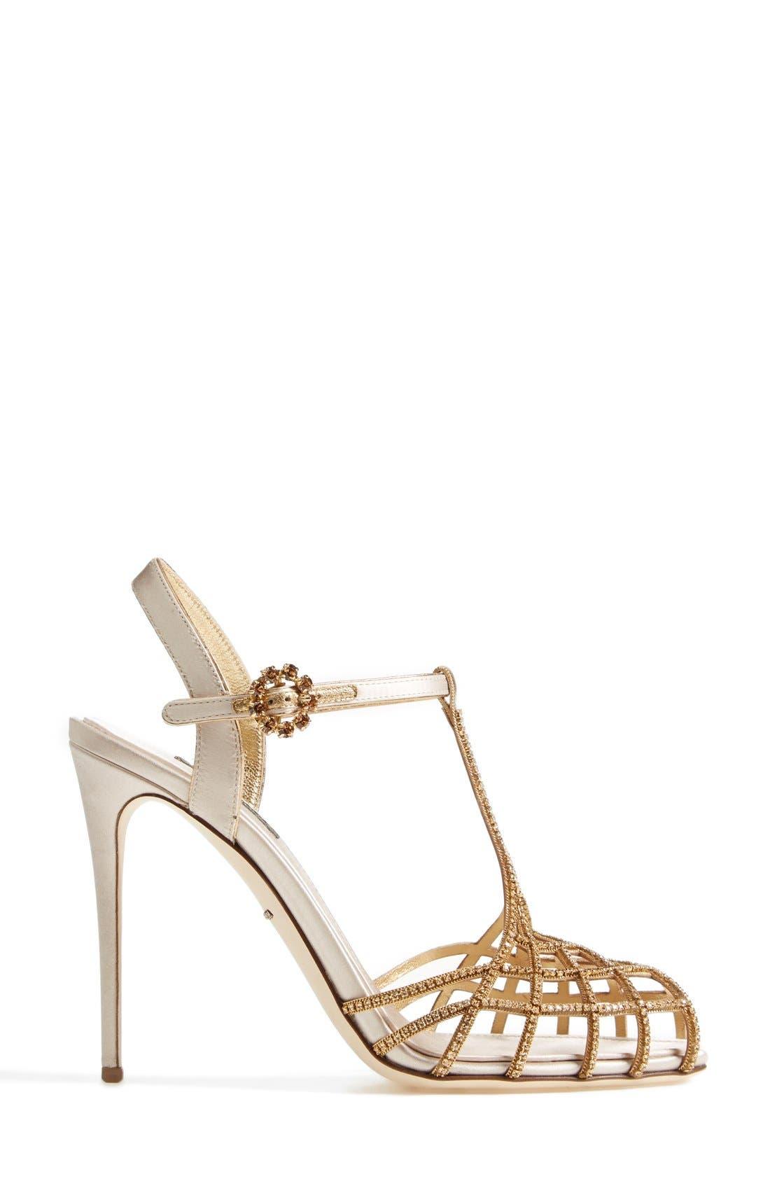 Alternate Image 4  - Dolce&Gabbana Crystal T-Bar Sandal (Women)