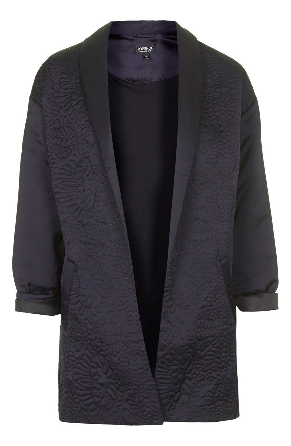 Alternate Image 3  - Topshop Embroidered Sateen Duster Jacket