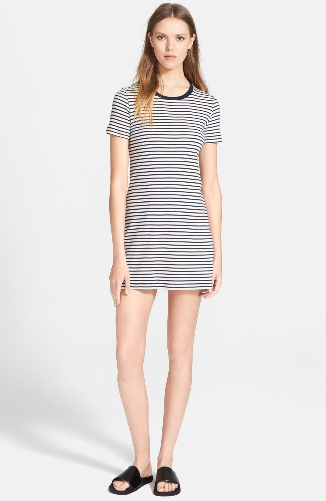 Alternate Image 1 Selected - Theory 'Cherry' Stripe Pima Cotton T-Shirt Dress