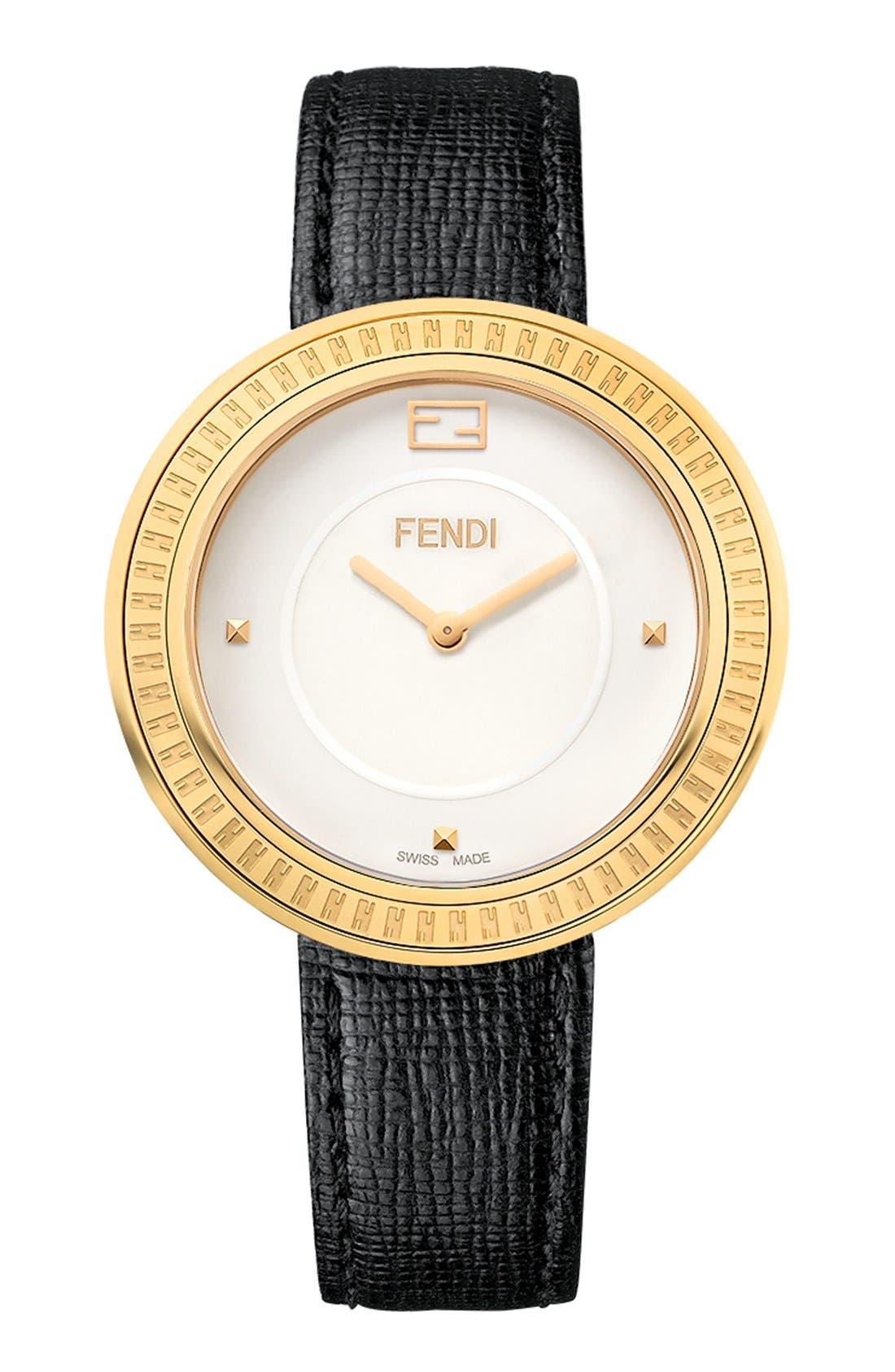 Alternate Image 1 Selected - Fendi 'Fendi My Way' Genuine Fox Fur Detail Leather Strap Watch, 36mm
