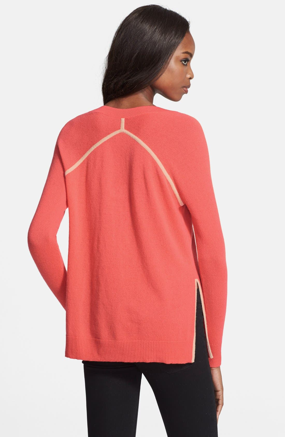 Alternate Image 2  - autumn cashmere Contrast Piping Side Slit Cashmere Tunic
