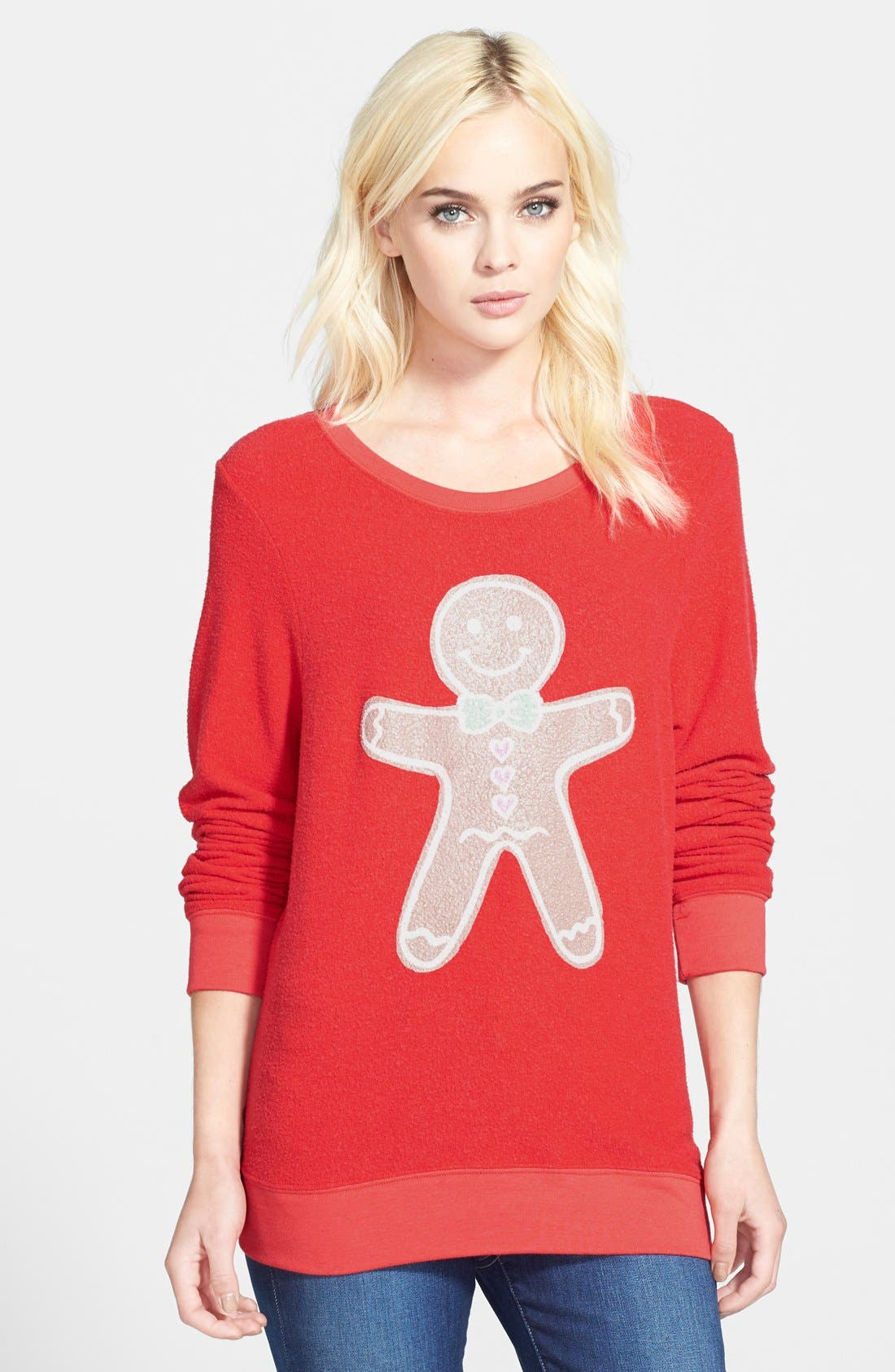 Alternate Image 1 Selected - Wildfox 'Gingerbread Man' Scented Pullover