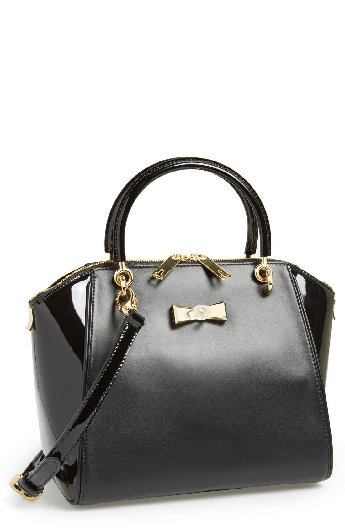 Main Image - Ted Baker London 'Petra - Crystal Bow' Small Leather Tote