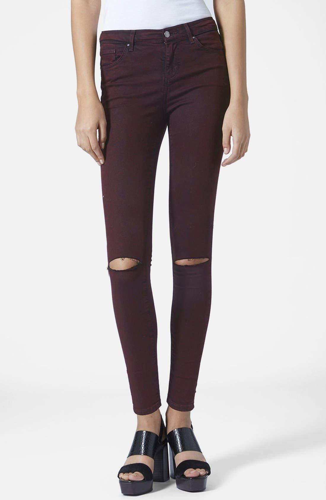 Alternate Image 1 Selected - Topshop Moto Destructed Ultra Skinny Jeans (Purple) (Regular, Short & Long)