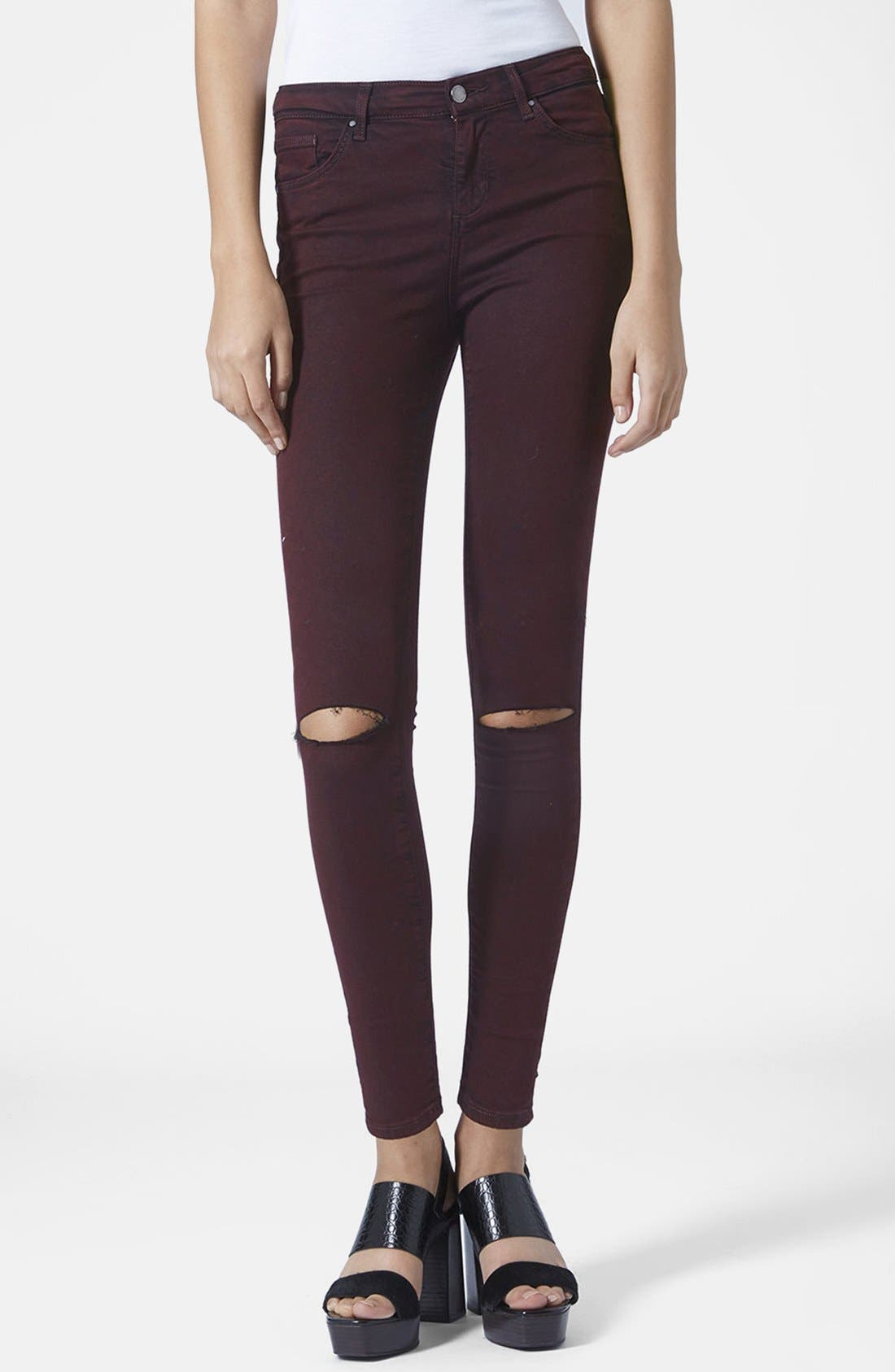 Main Image - Topshop Moto Destructed Ultra Skinny Jeans (Purple) (Regular, Short & Long)