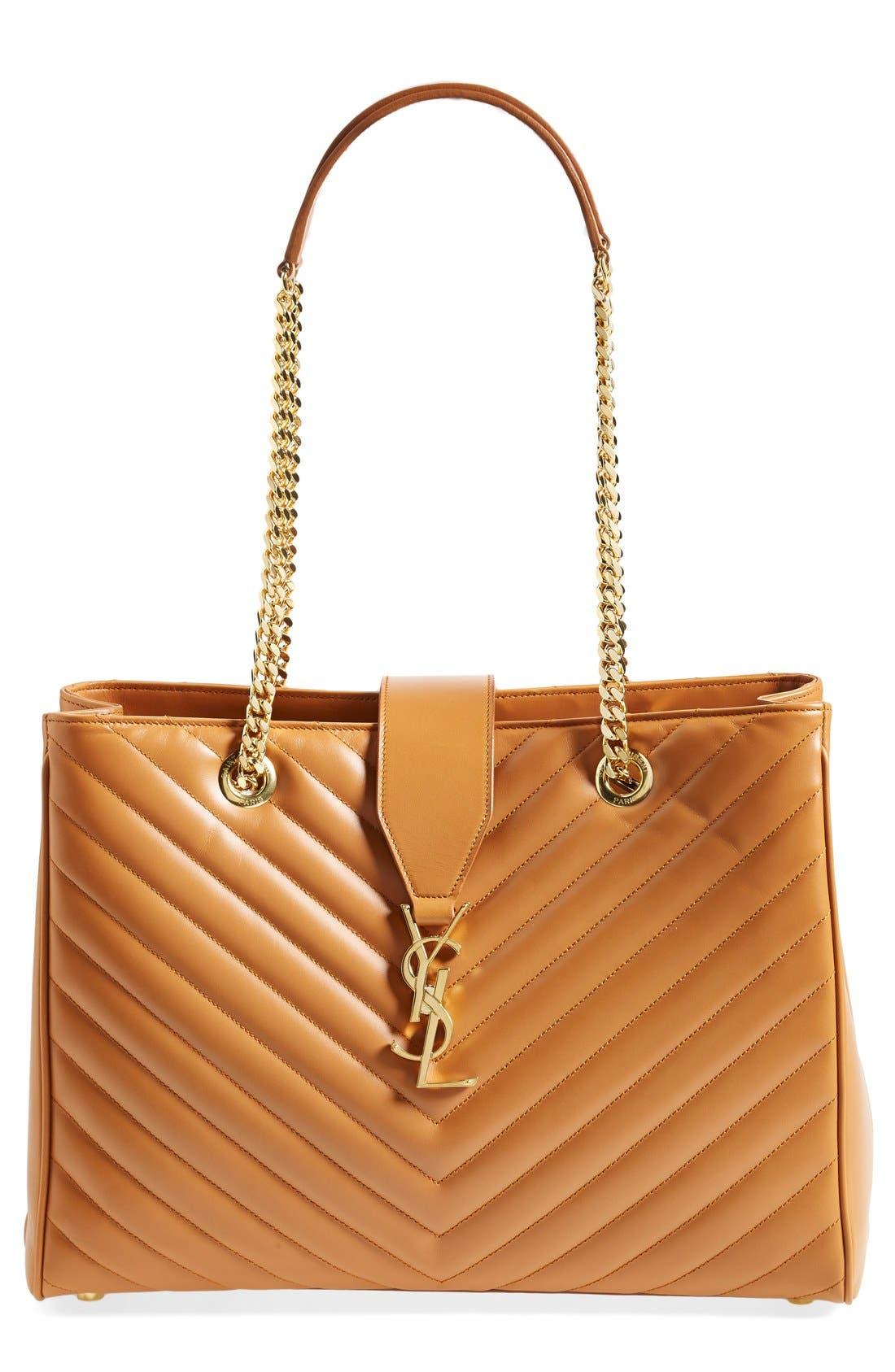 Main Image - Saint Laurent 'Cassandre' Leather Shopper