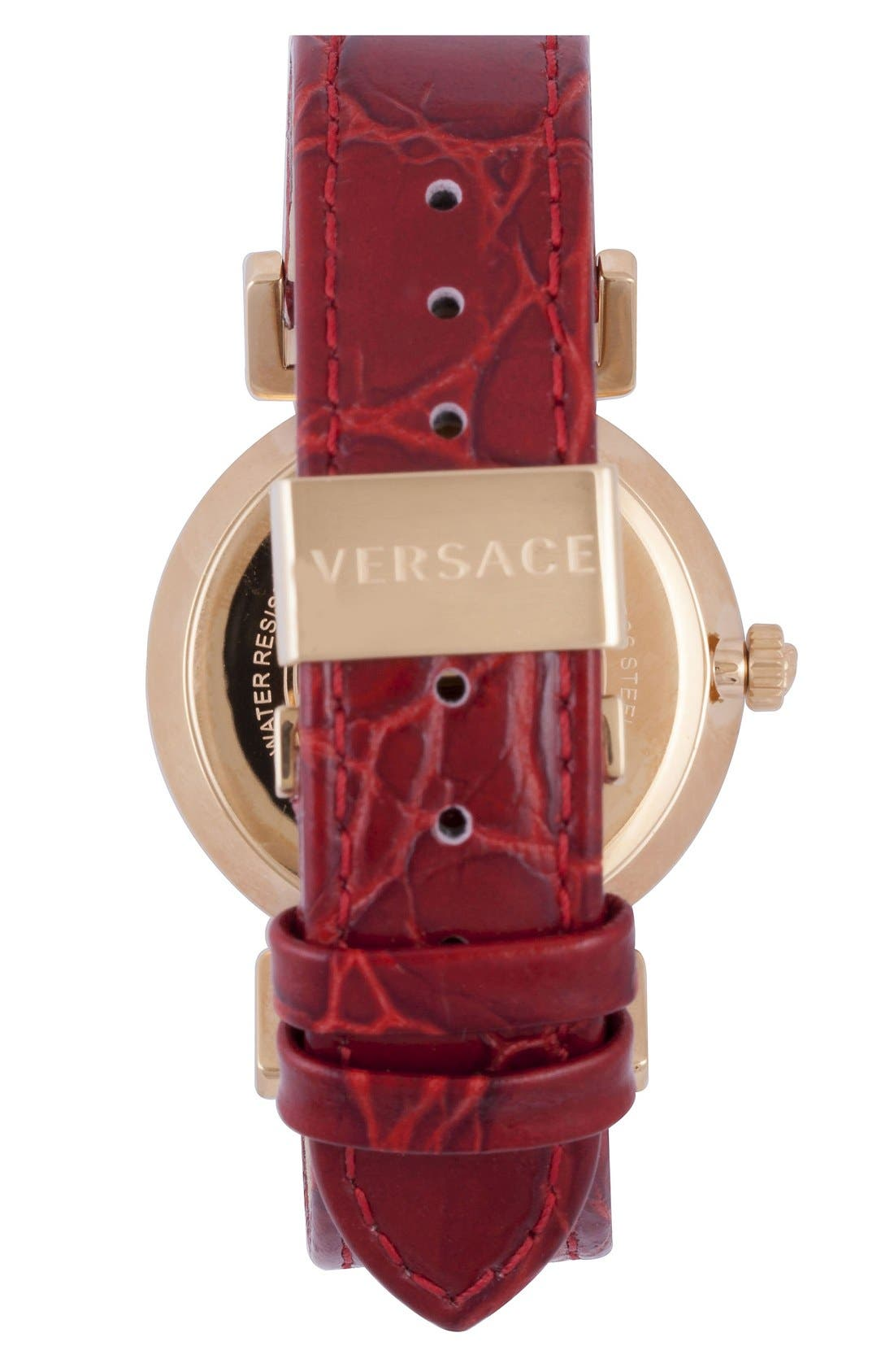 Alternate Image 2  - Versace 'Vanity' Leather Strap Watch, 35mm