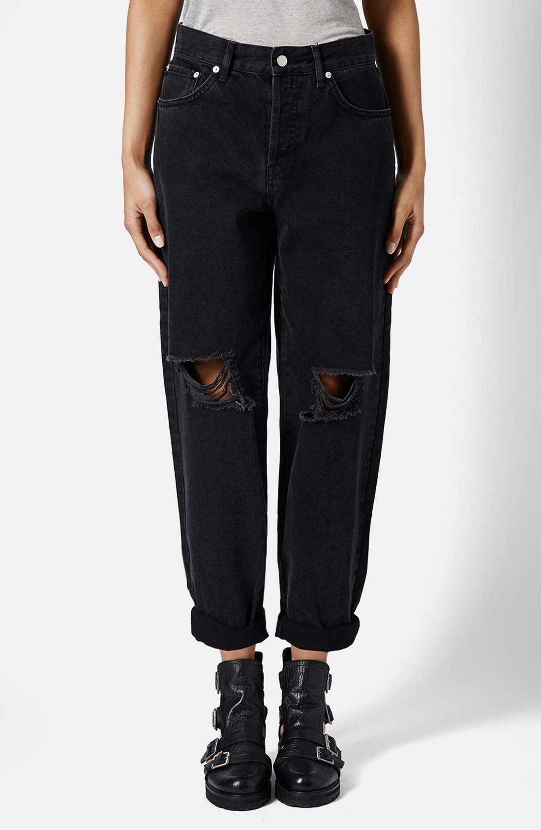 Alternate Image 1 Selected - Topshop Boutique Ripped Baggy Jeans (Black)