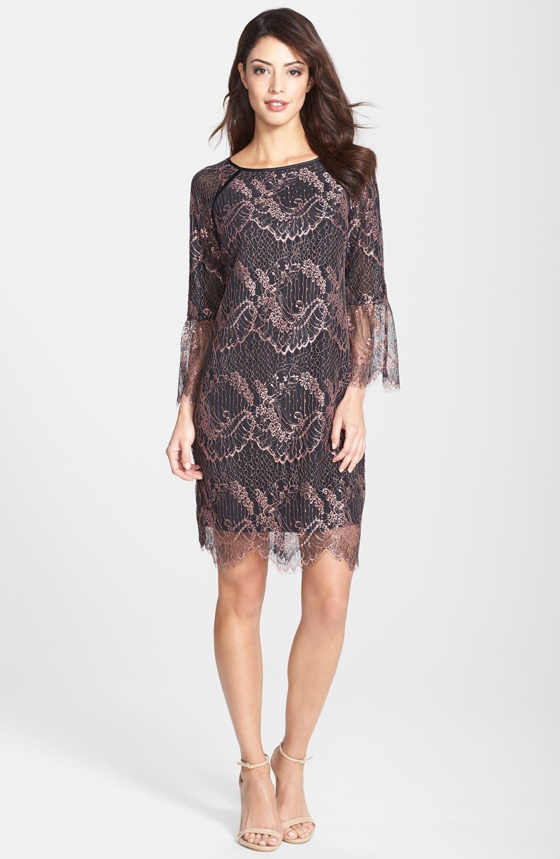 Alternate Image 3  - Adrianna Papell Metallic Scalloped Lace Shift Dress