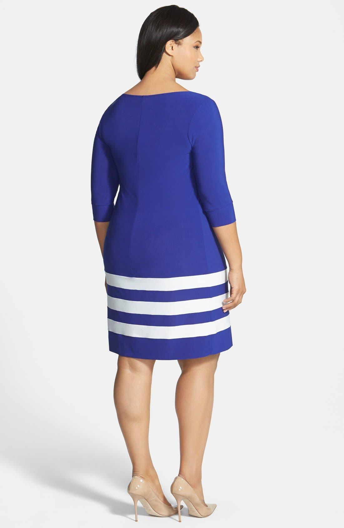 Alternate Image 2  - ABS by Allen Schwartz Stripe Hem T-Shirt Dress (Plus Size)