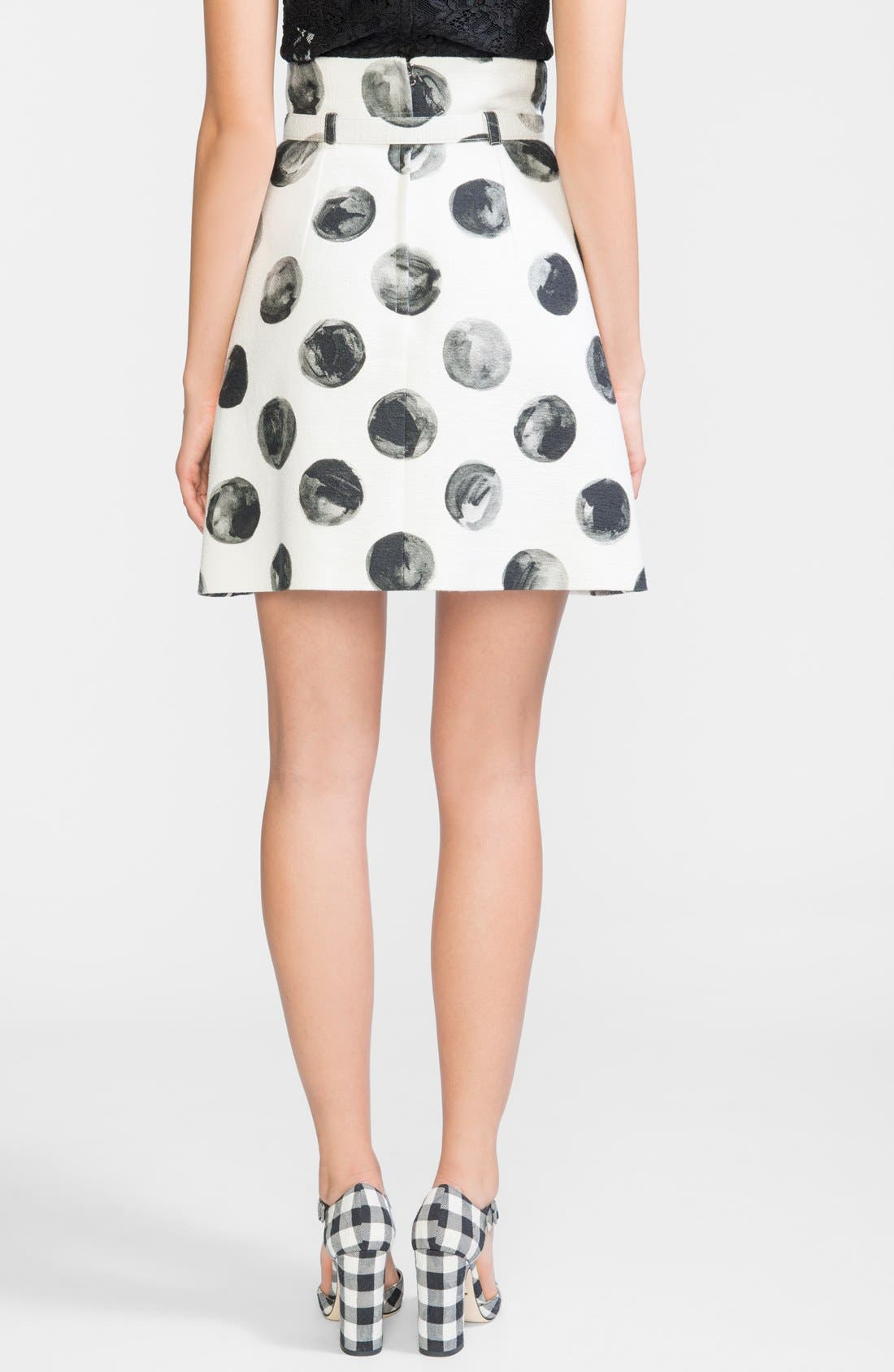 Alternate Image 2  - Dolce&Gabbana Dot Print Cotton A-Line Skirt with Belt