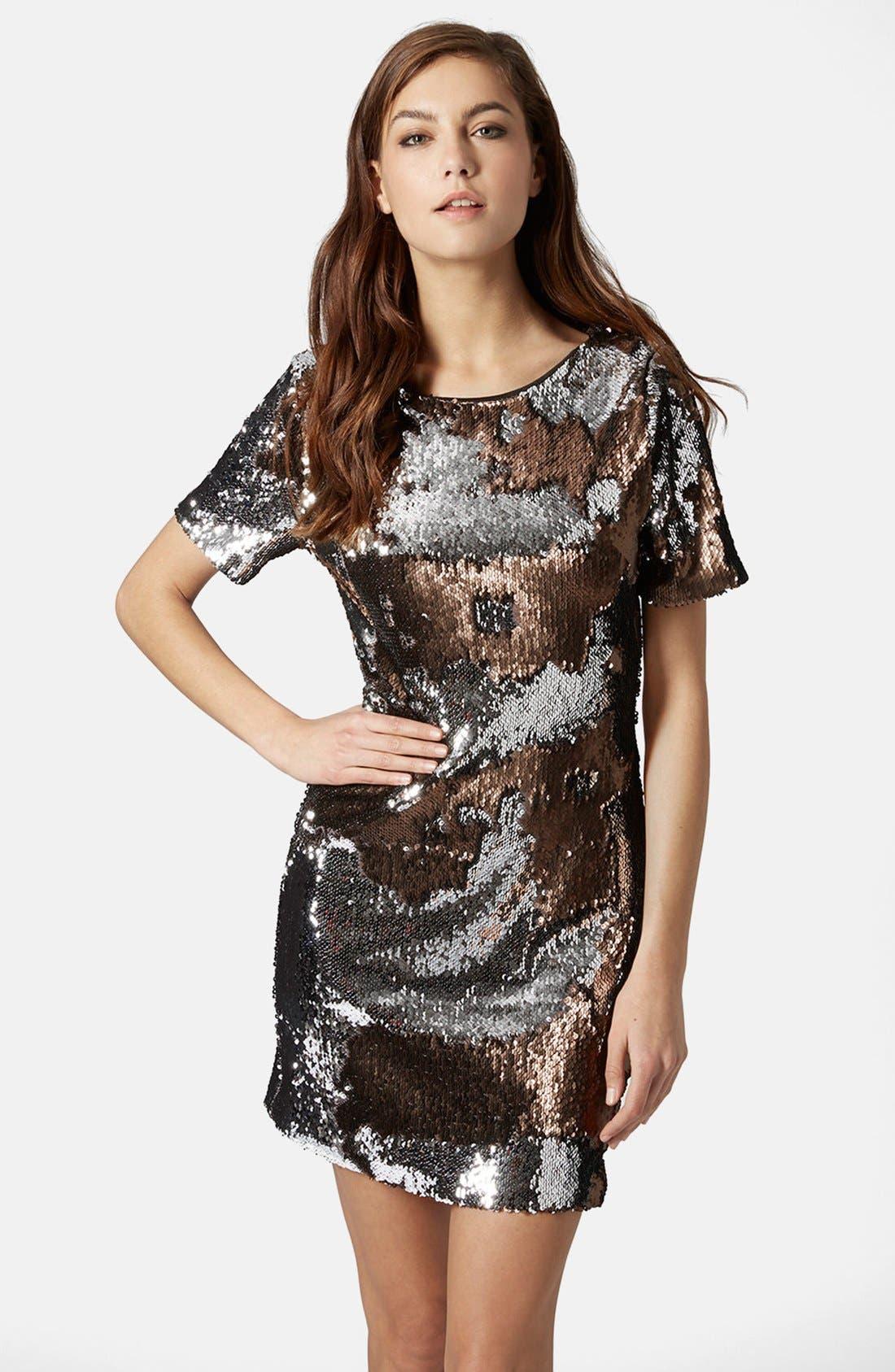 Main Image - Topshop Metallic Sequin Body-Con Dress (Regular & Petite)