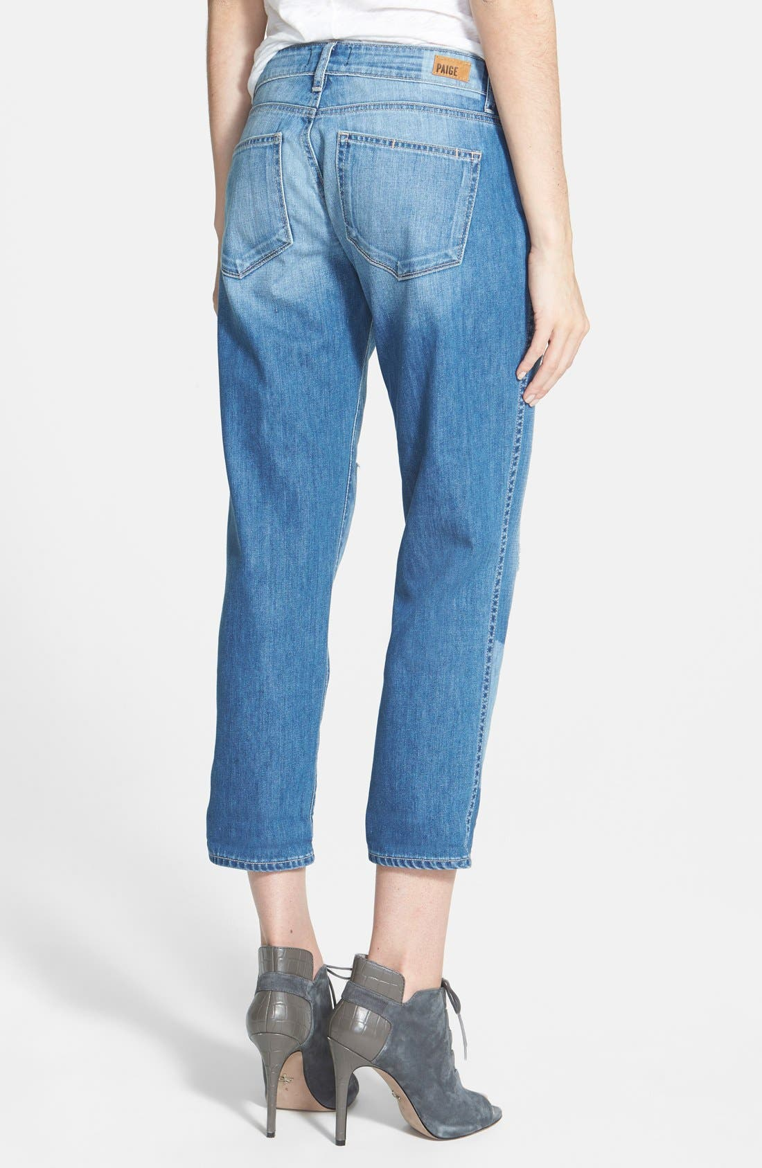 Alternate Image 2  - Paige Denim 'Jimmy Jimmy' Crop Skinny Boyfriend Jeans (Indigo Ezra Destroyed)