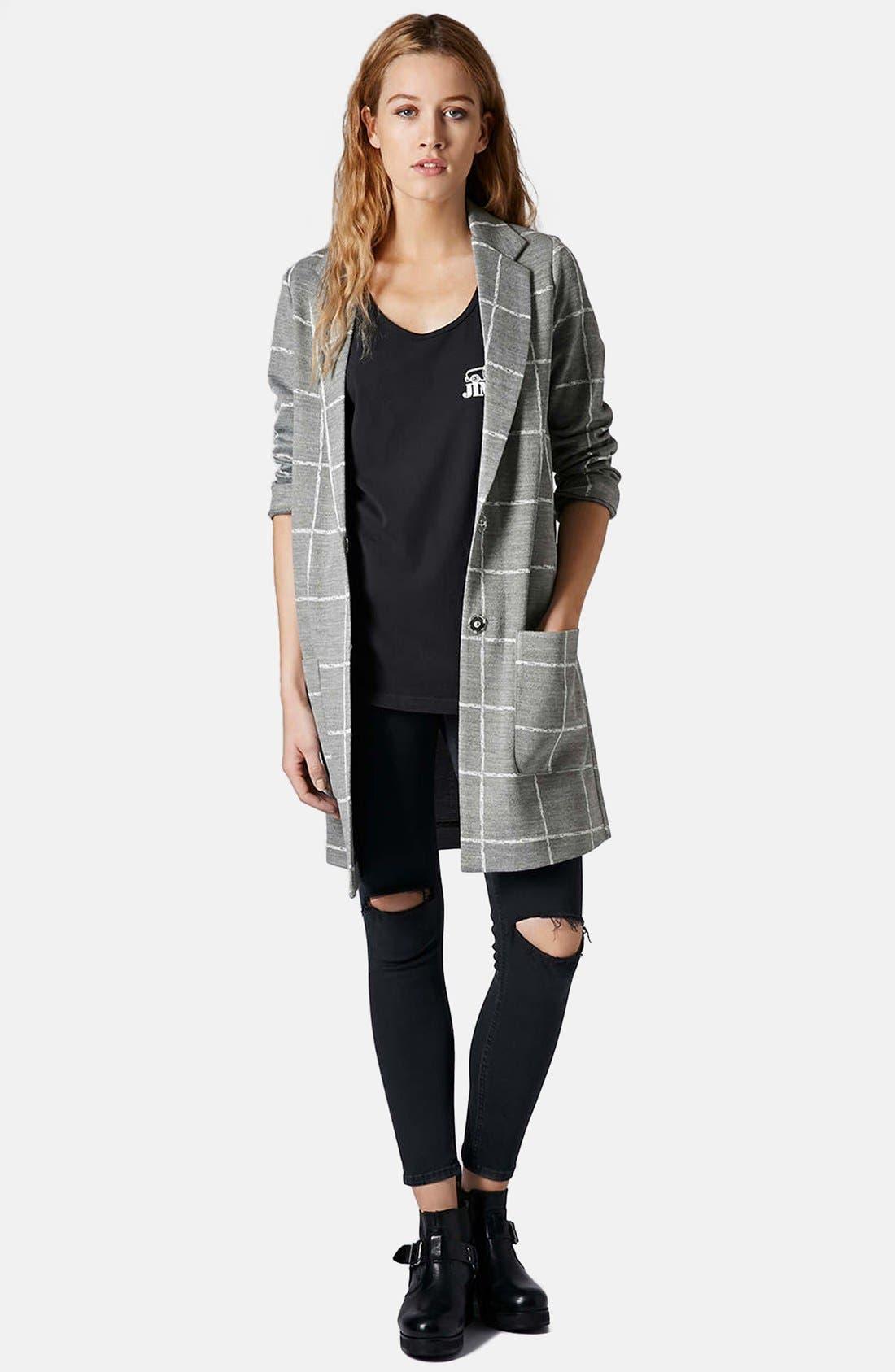 Alternate Image 5  - Topshop Grid Check Slim Coat