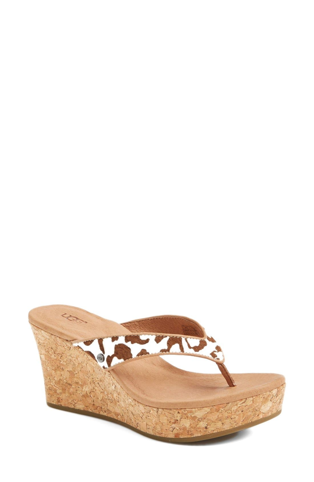Alternate Image 1 Selected - UGG Australia 'Natassia' Calf Hair Wedge Sandal (Women)