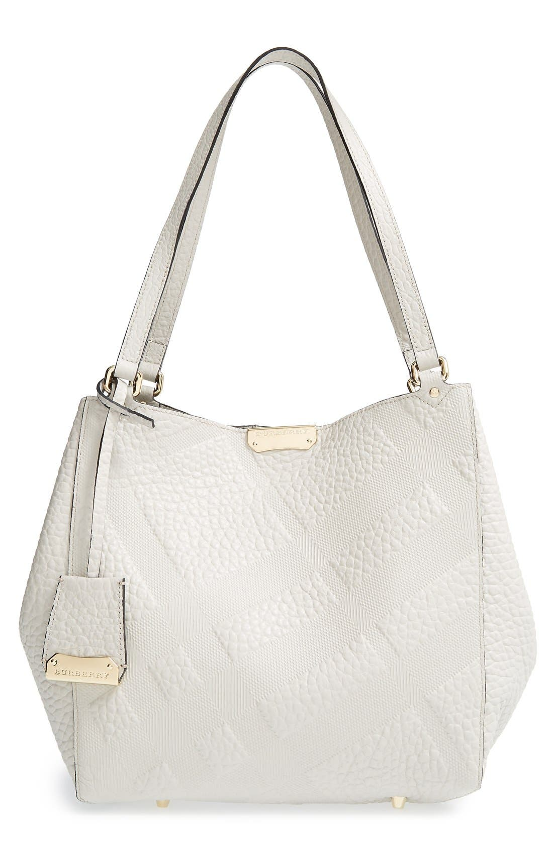Alternate Image 1 Selected - Burberry 'Small Cantebury' Check Embossed Leather Tote