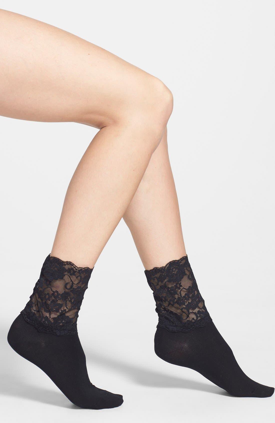 Alternate Image 1 Selected - Hue Lace Cuff Socks