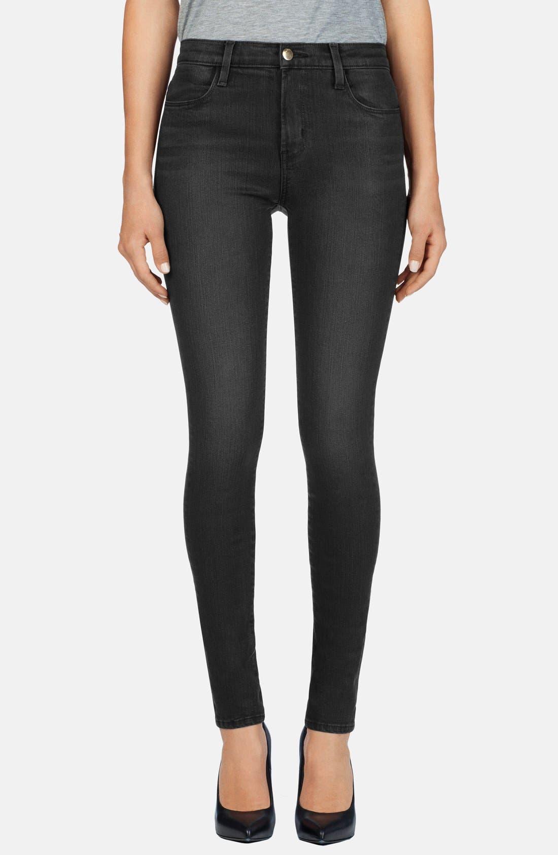 Main Image - J Brand '620' Mid Rise Skinny Jeans (Black Diamond)