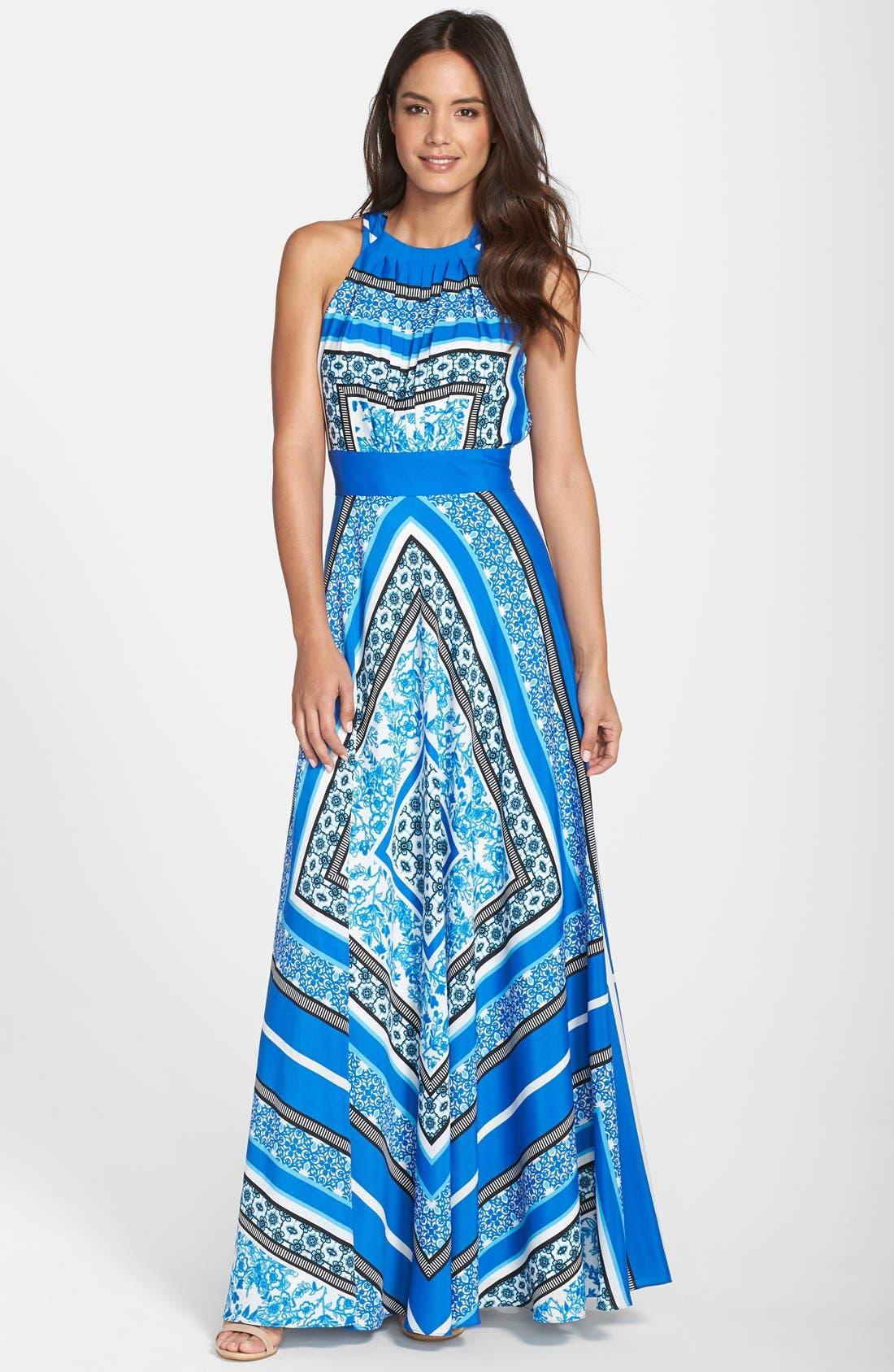 Eliza J Scarf Print Halter Crêpe de Chine Maxi Dress (Regular & Petite)