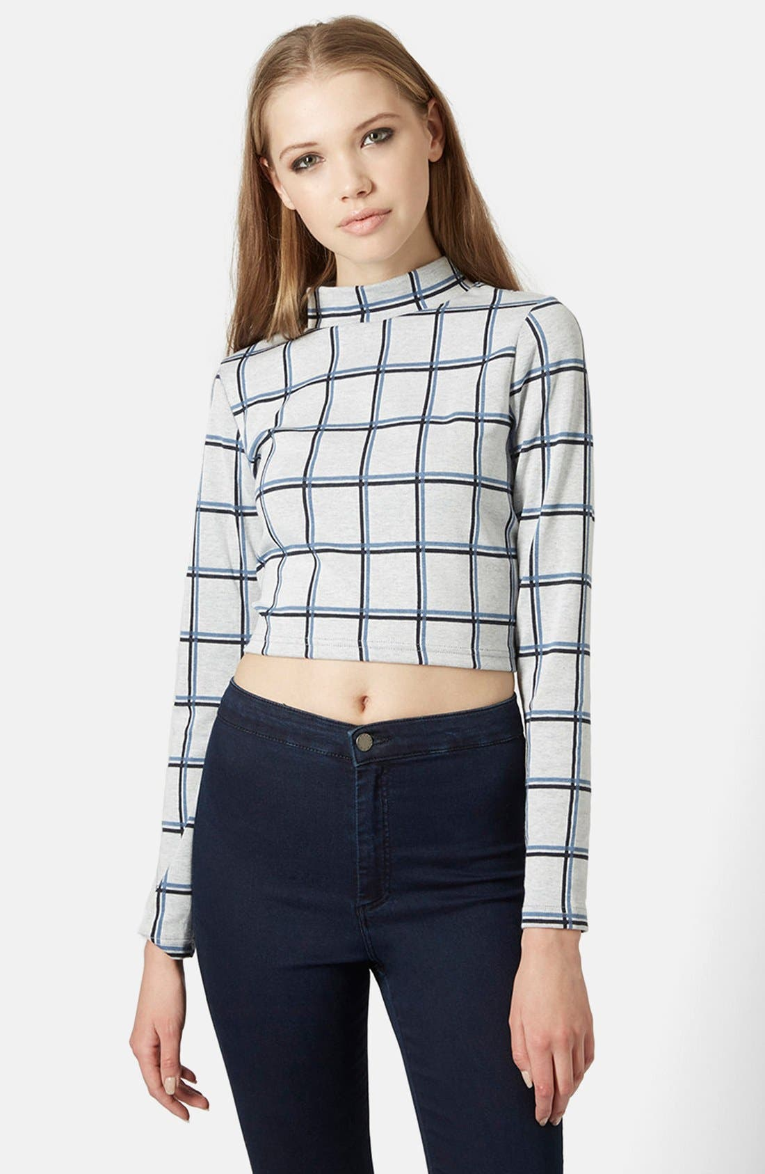 Alternate Image 1 Selected - Topshop Windowpane Crop Top