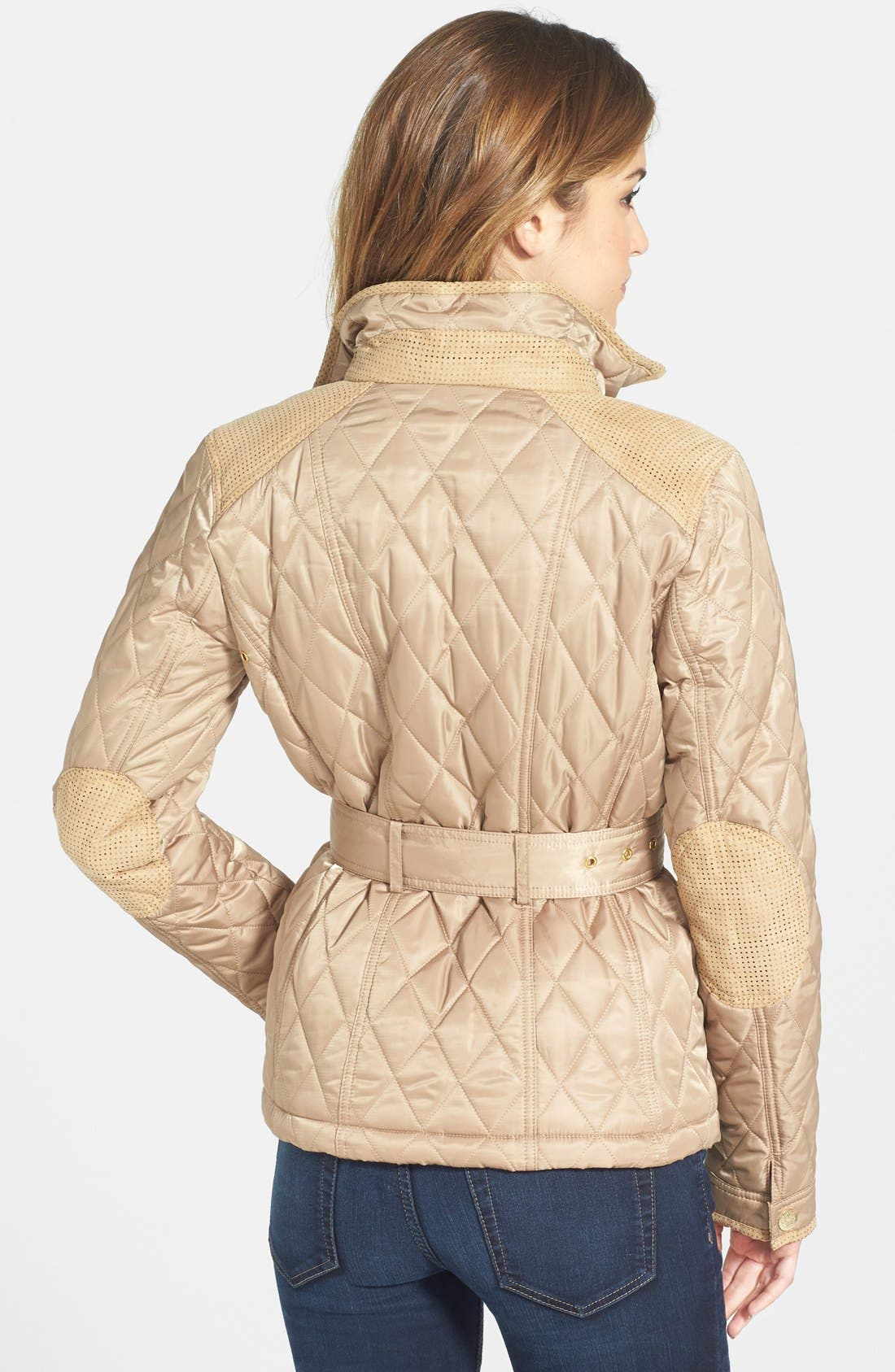 Alternate Image 2  - Vince Camuto Faux Suede Trim Belted Quilted Jacket
