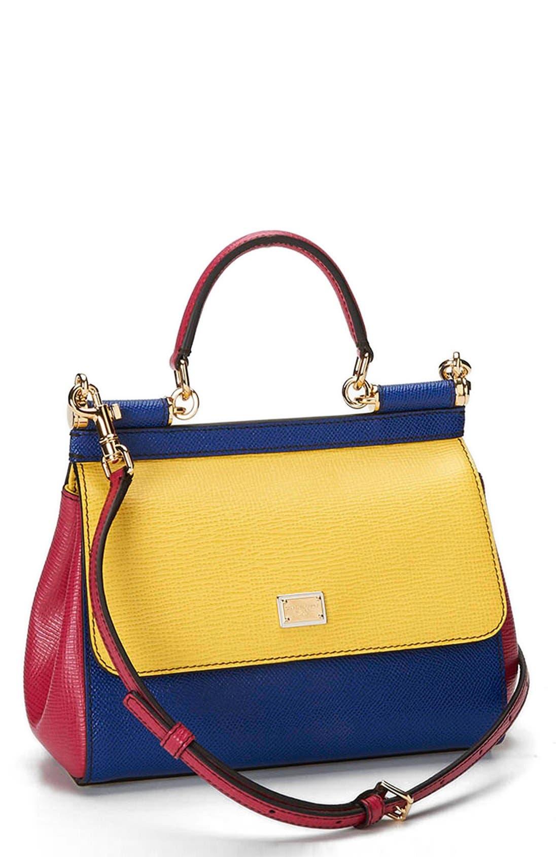 Alternate Image 1 Selected - Dolce&Gabbana 'Mini Miss Sicily' Colorblock Leather Satchel