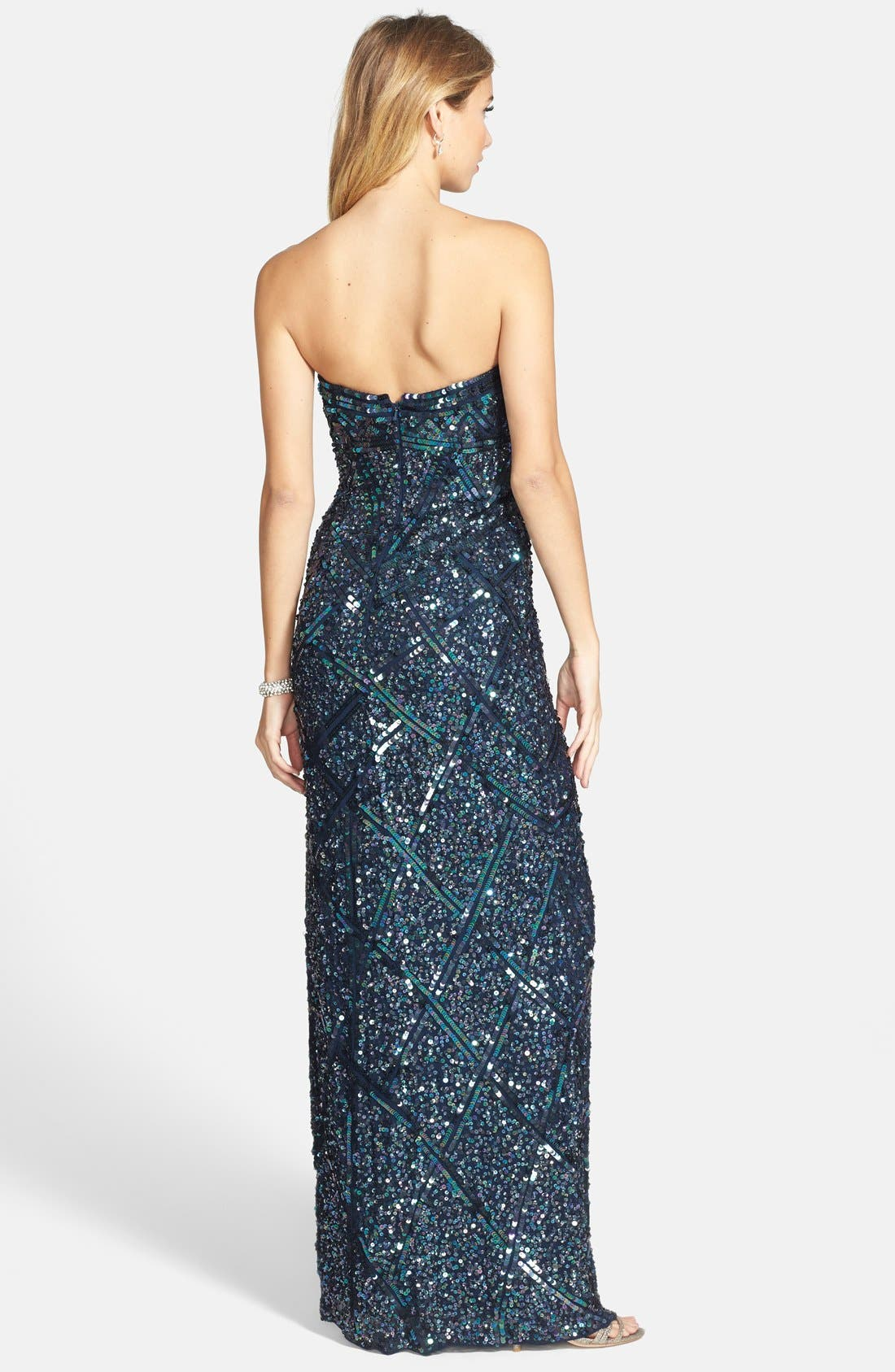 Alternate Image 2  - Sean Collection Sequin Silk Strapless Gown