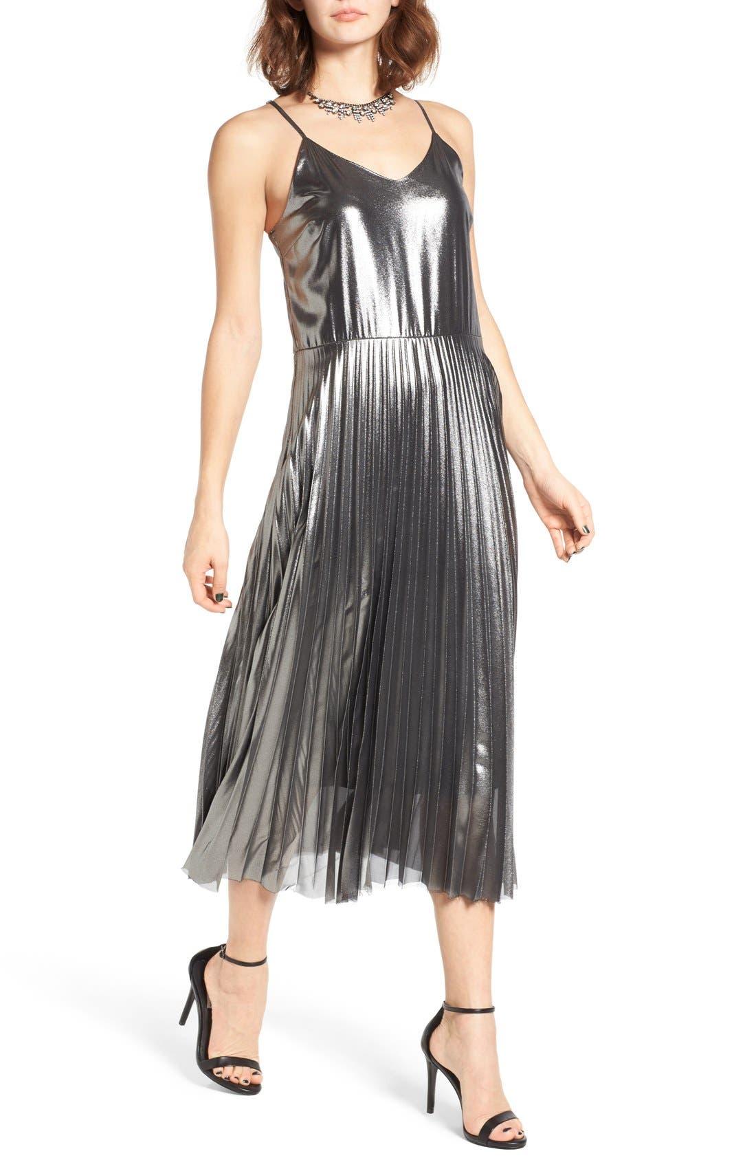 Alternate Image 5  - Love, Fire Pleated Foil Midi Dress