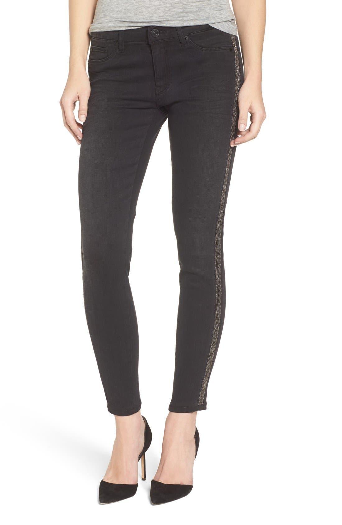 HUDSON JEANS Luna Ankle Metallic Stripe Skinny Jeans