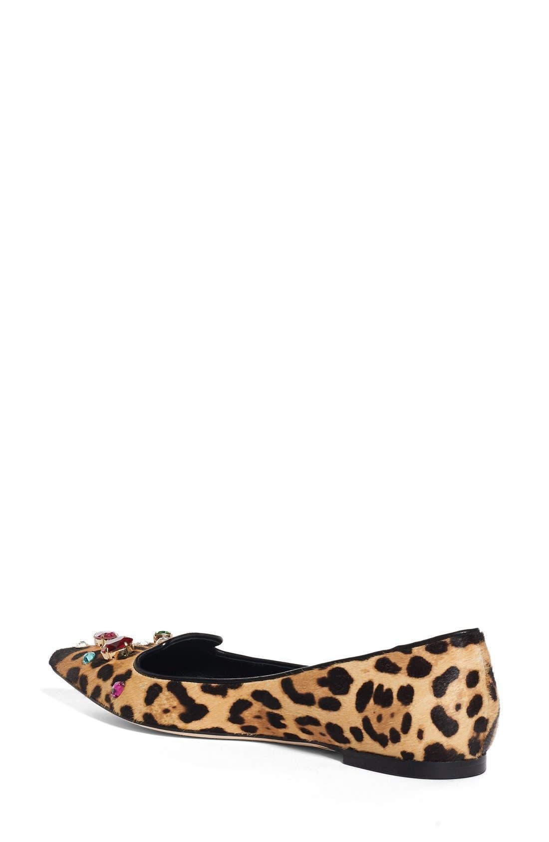 Alternate Image 2  - Dolce&Gabbana Leo Embellished Leopard Print Flat (Women)