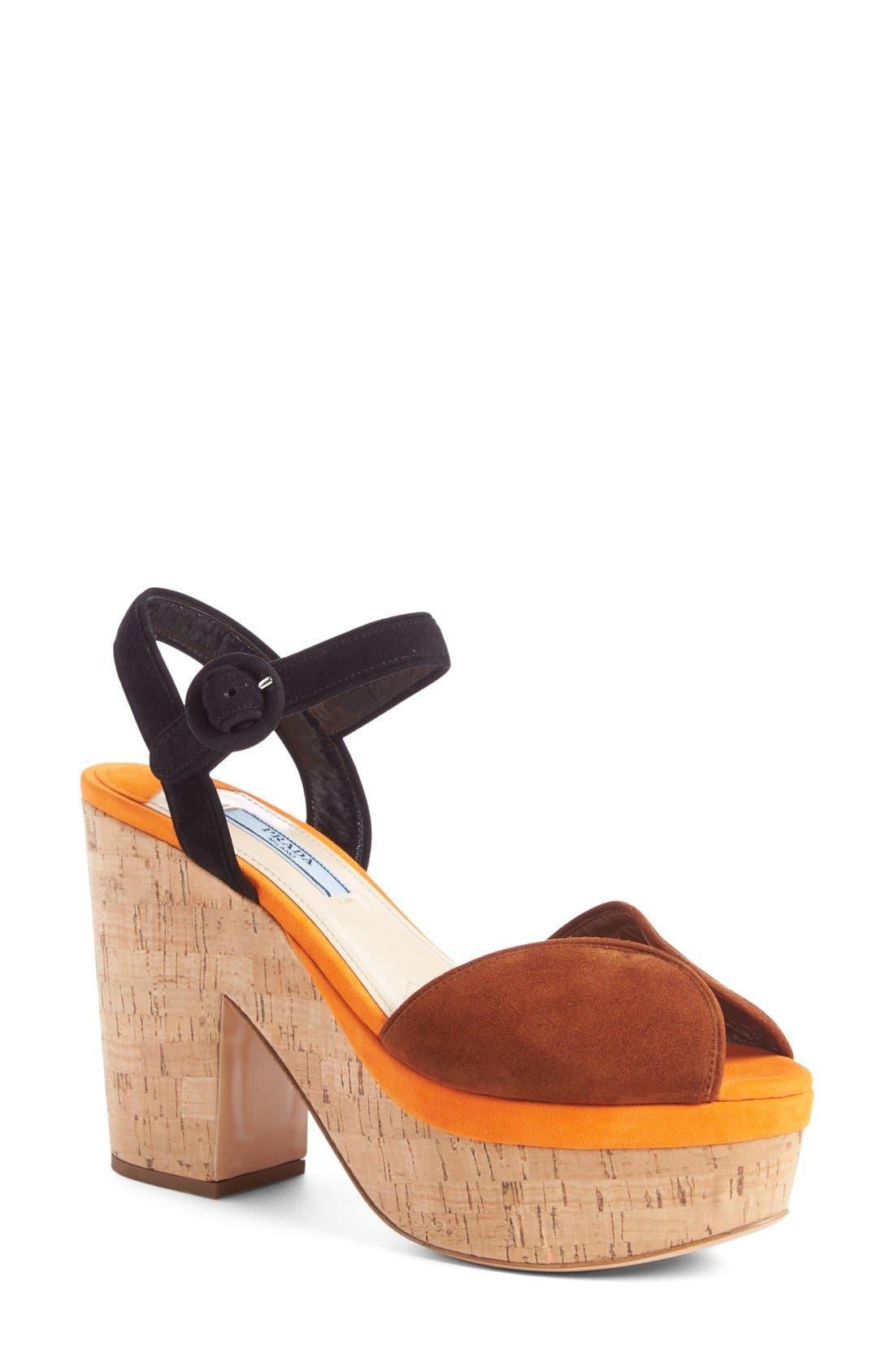 PRADA Peep-Toe Platform Sandal