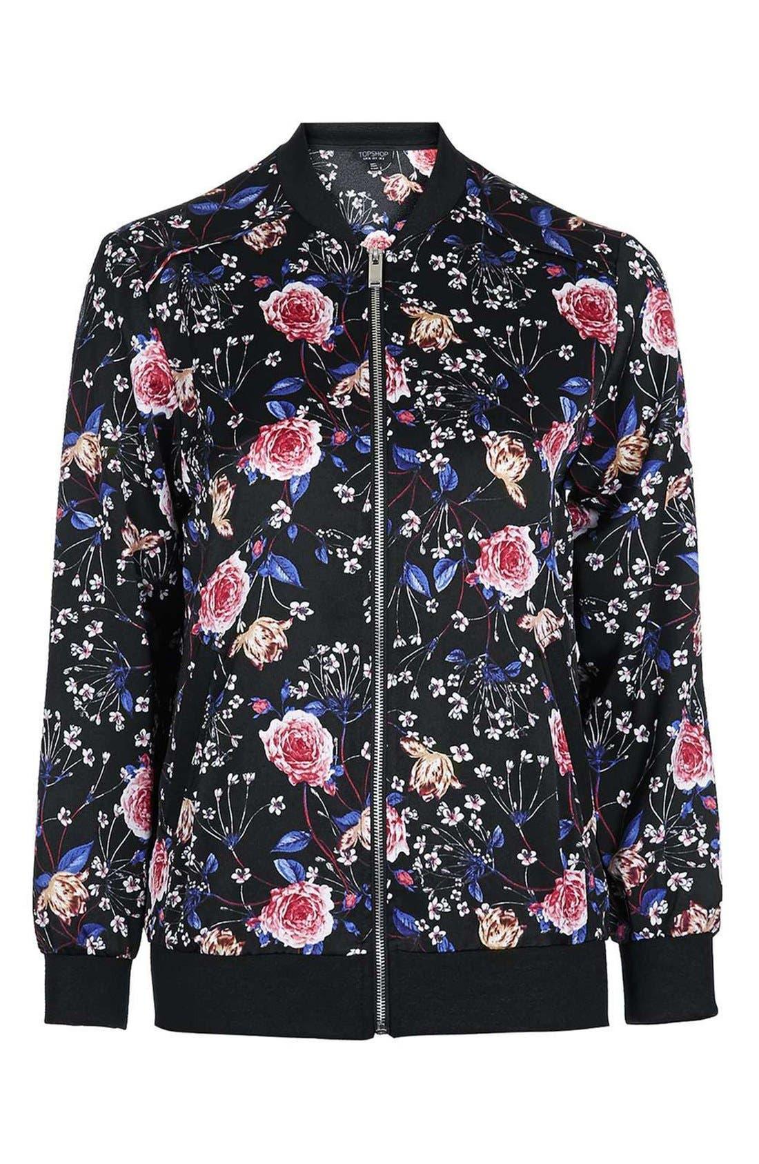Alternate Image 4  - Topshop Floral Print Bomber Jacket