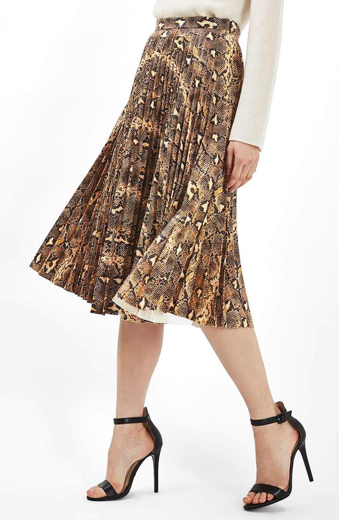 Alternate Image 1 Selected - Topshop Snake Print Pleated Midi Skirt