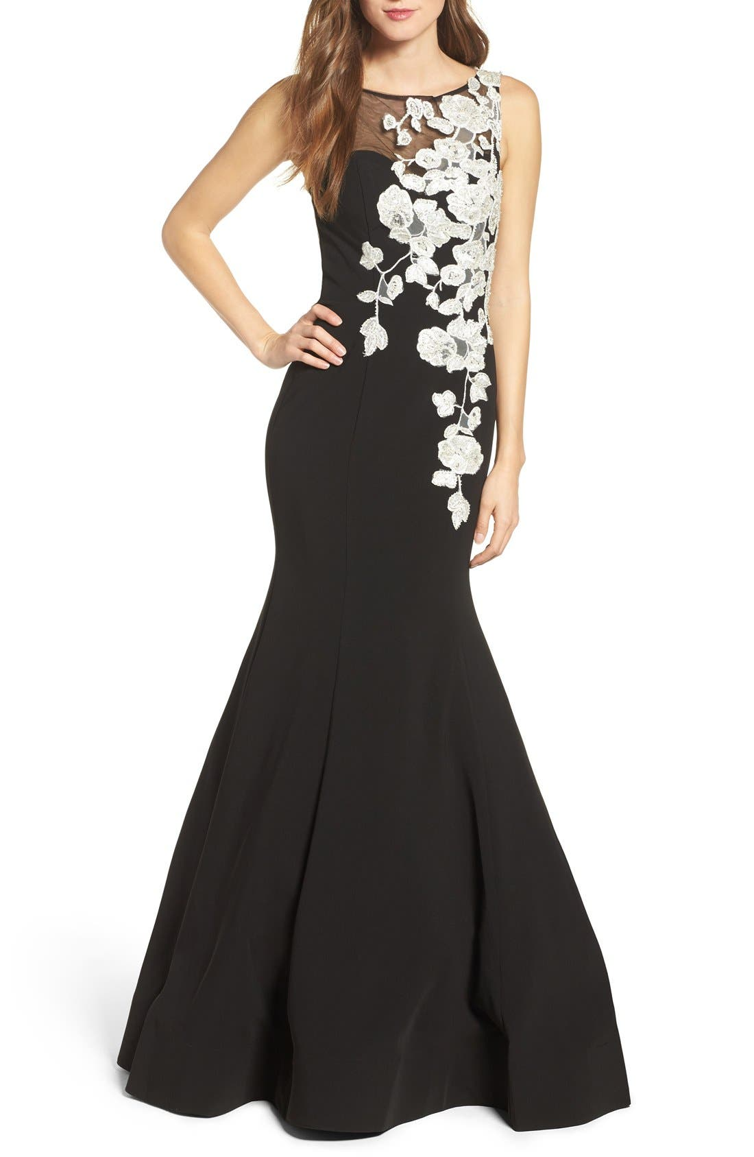 JOVANI Embellished Mermaid Gown